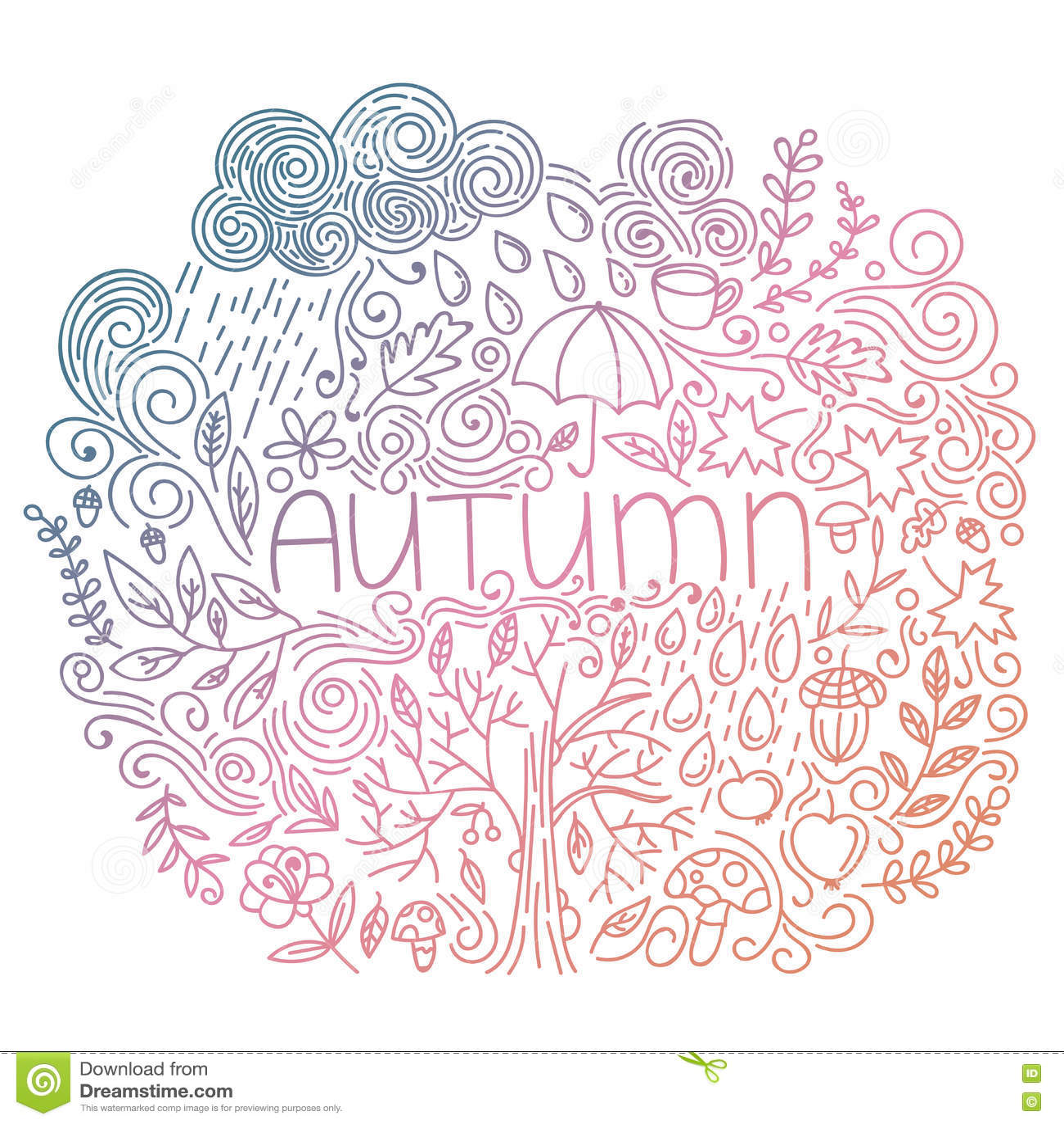 Gribouillez la carte de chute avec l automne de mot, les éléments floraux, le nuage de pluie et les baisses, chute d arbre, gland