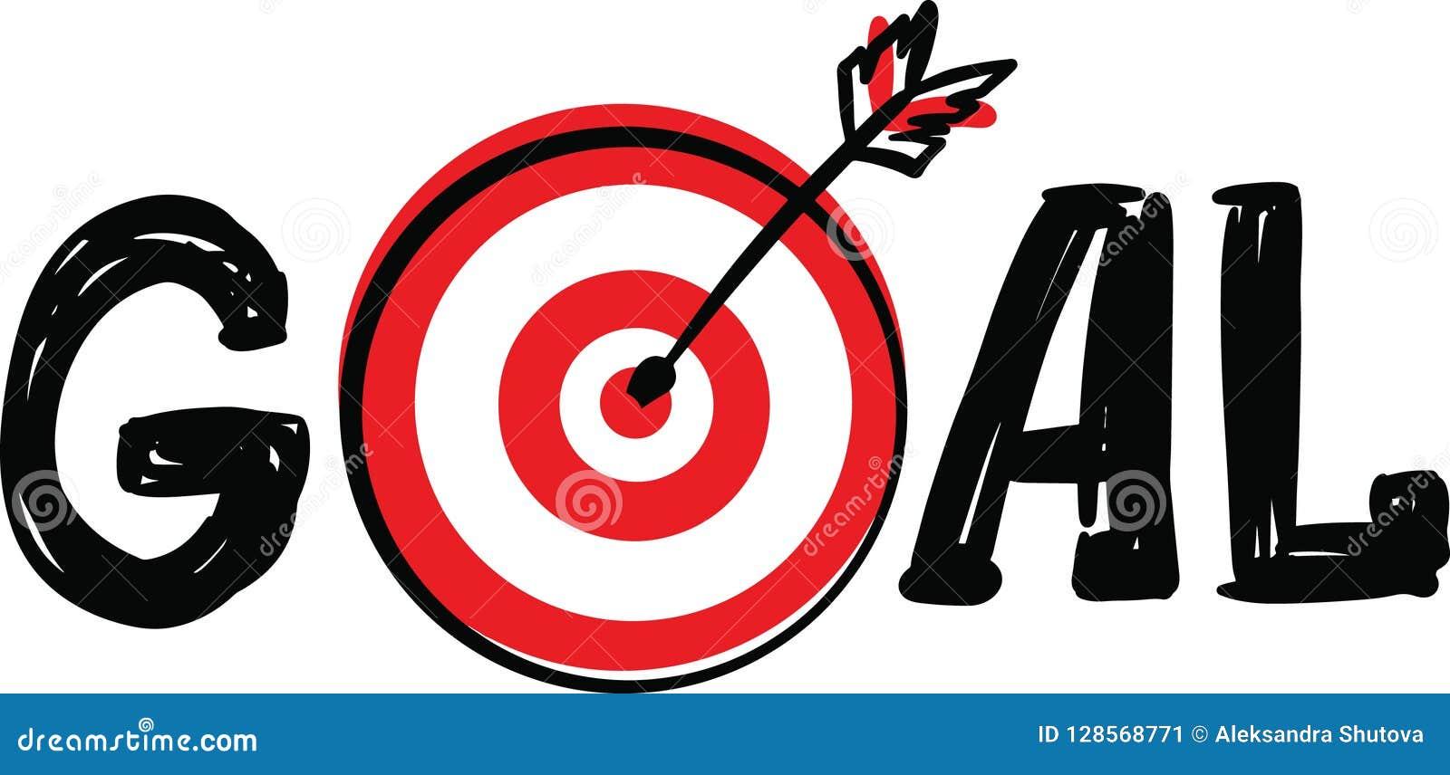Gribouillez le but tiré par la main de Word avec la cible de cible et le symbole de flèche au lieu de la lettre O d isolement sur