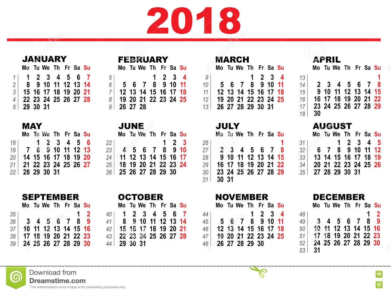 grid calendar for 2018 stock vector  illustration of march