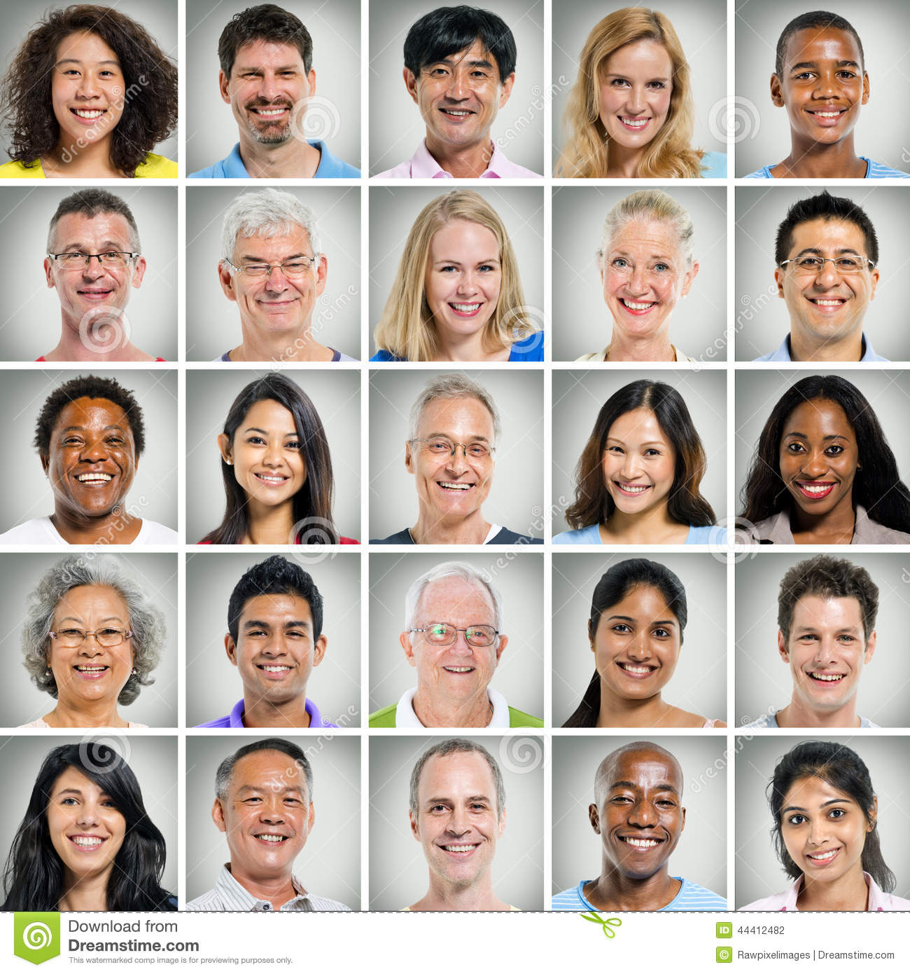 grid of close ups of smiling people stock photo image of