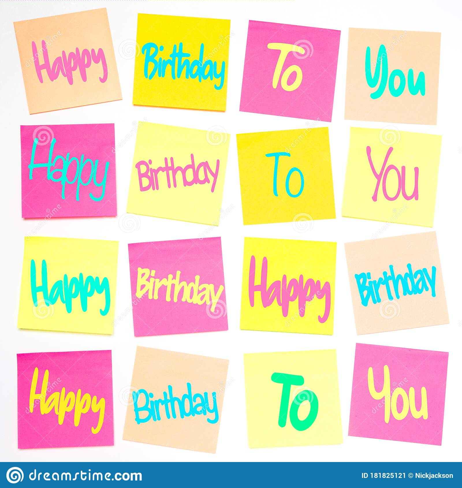 A Grid Of Colourful Sticky Notes With The Happy Birthday Song Lyrics On Stock Image Image Of Pastel Notepaper 181825121