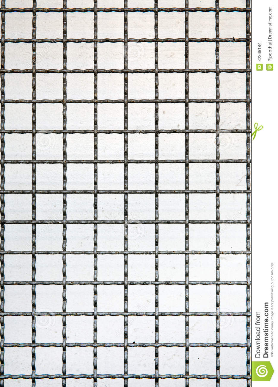 grid line of metal fence