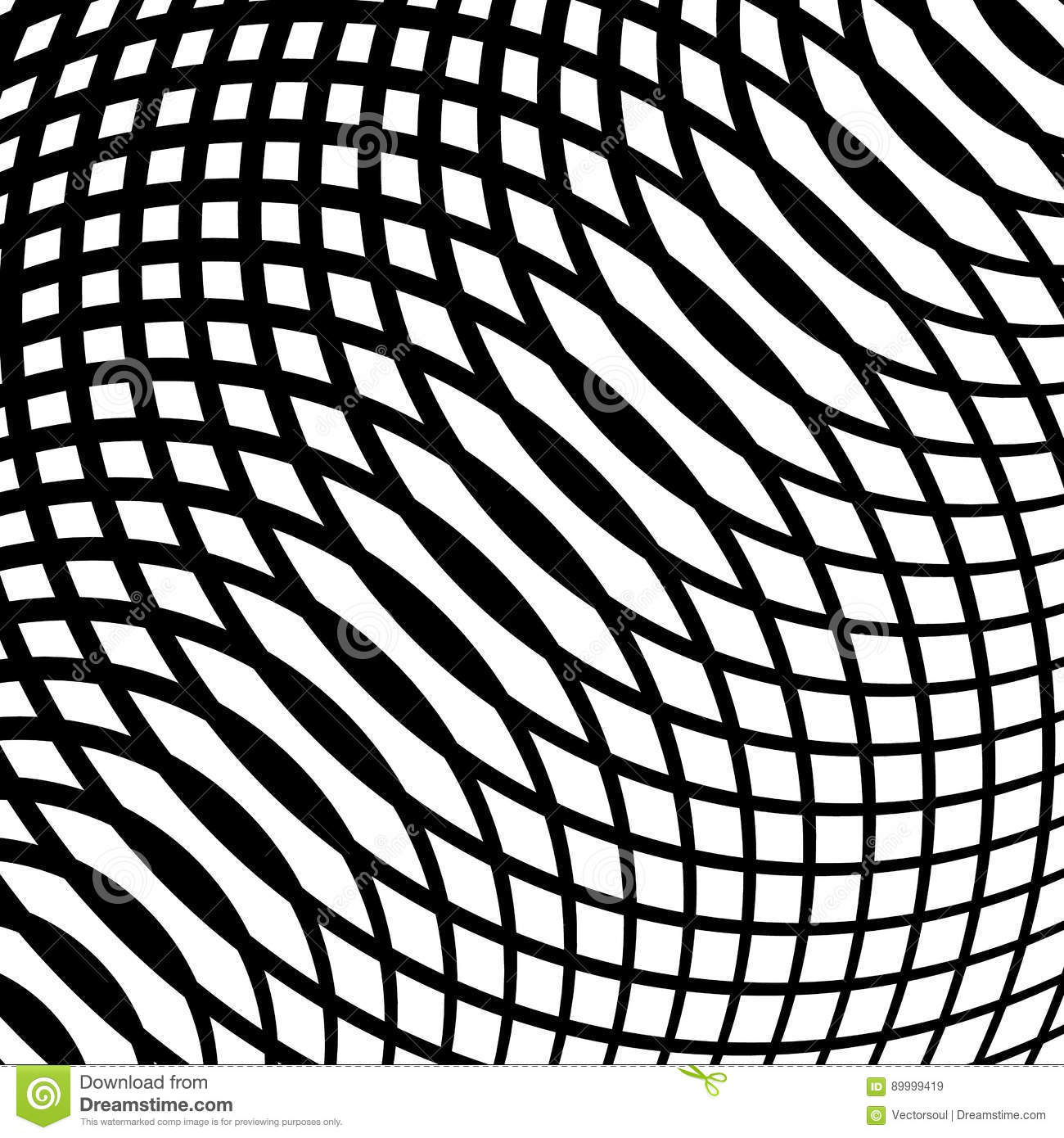 Grid, mesh of curved lines. Cellular moire effect. Abstract geom