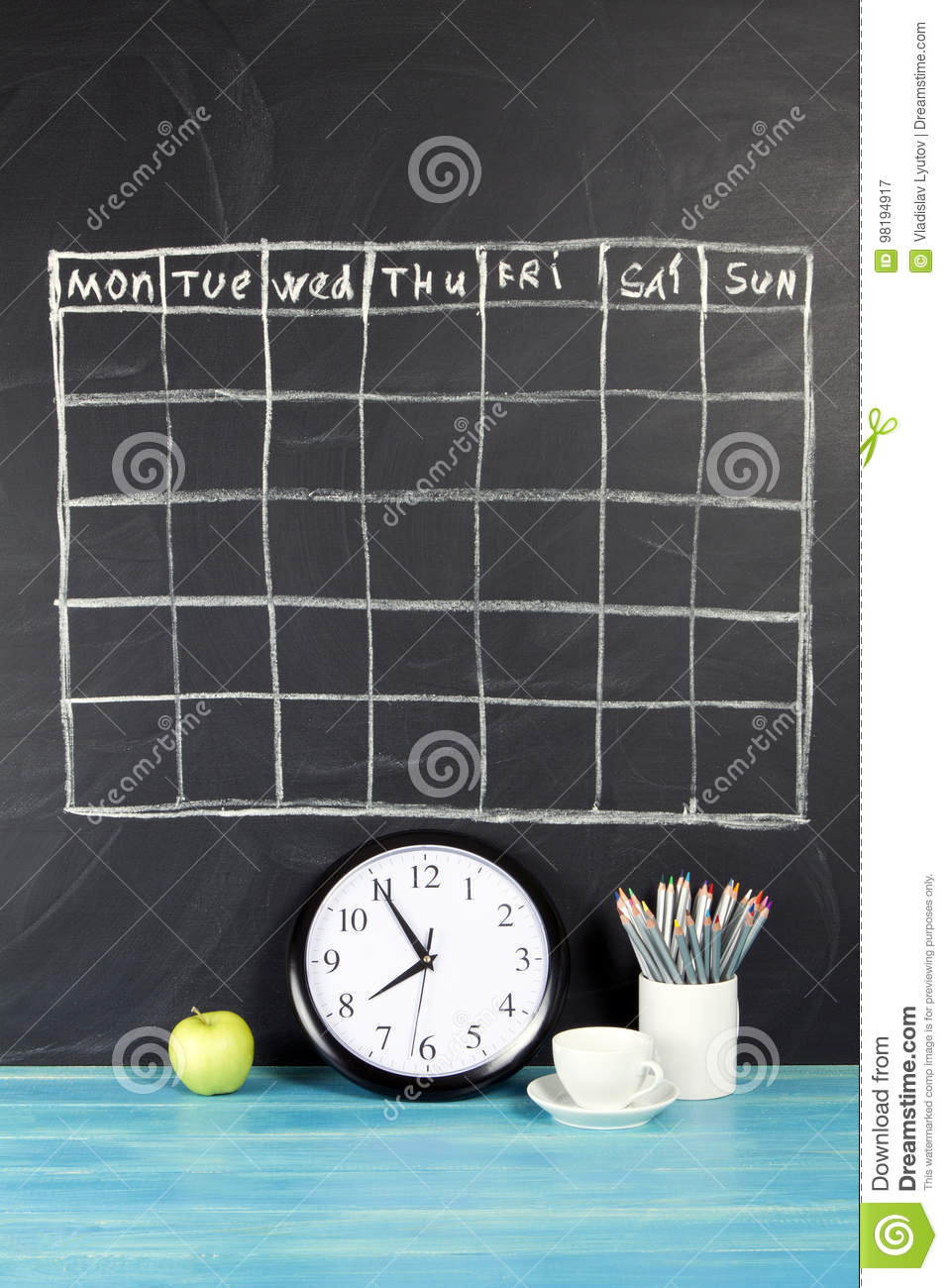grid timetable schedule on black chalkboard background  stock image