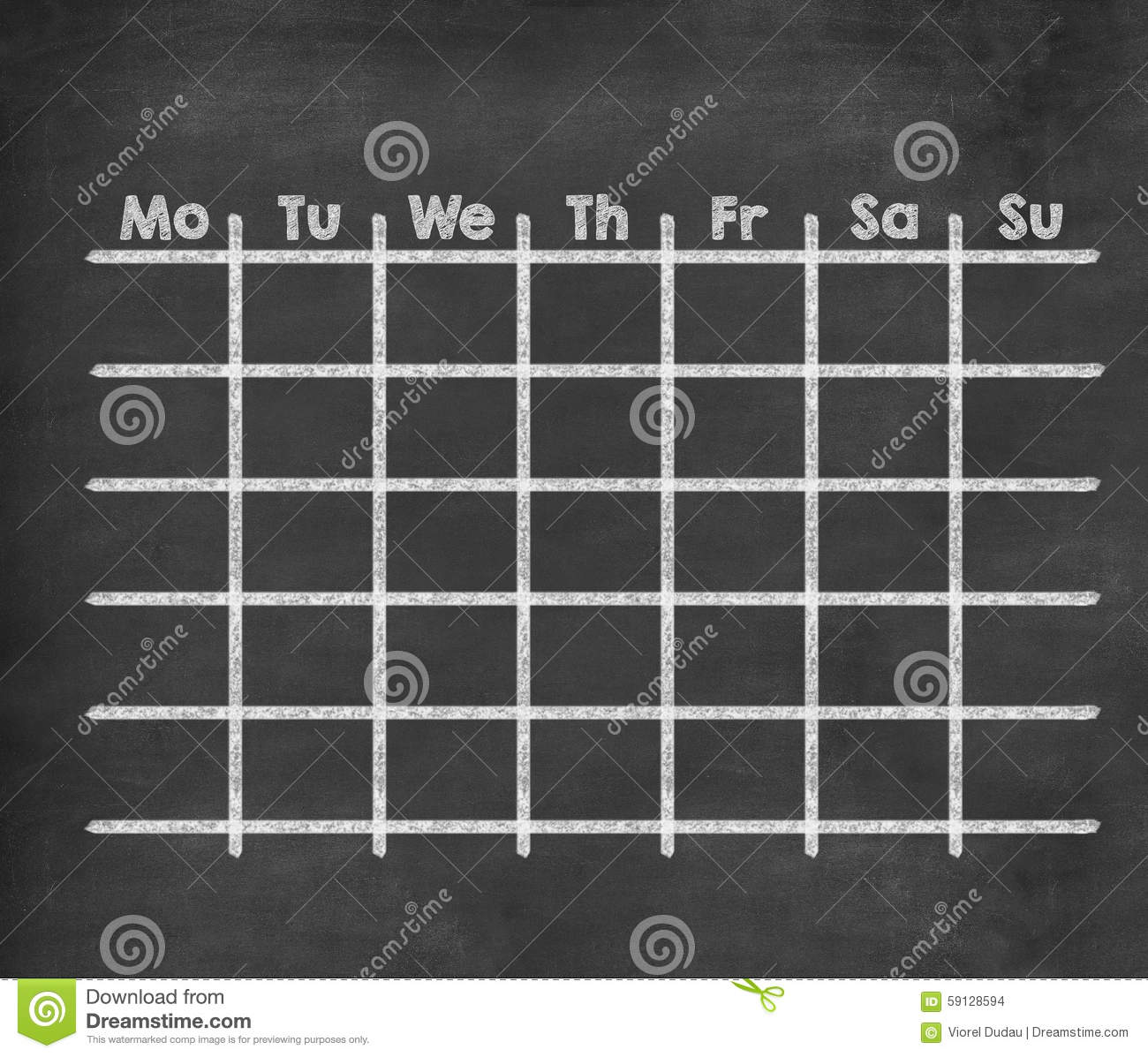 grid weekly calendar for full week stock illustration