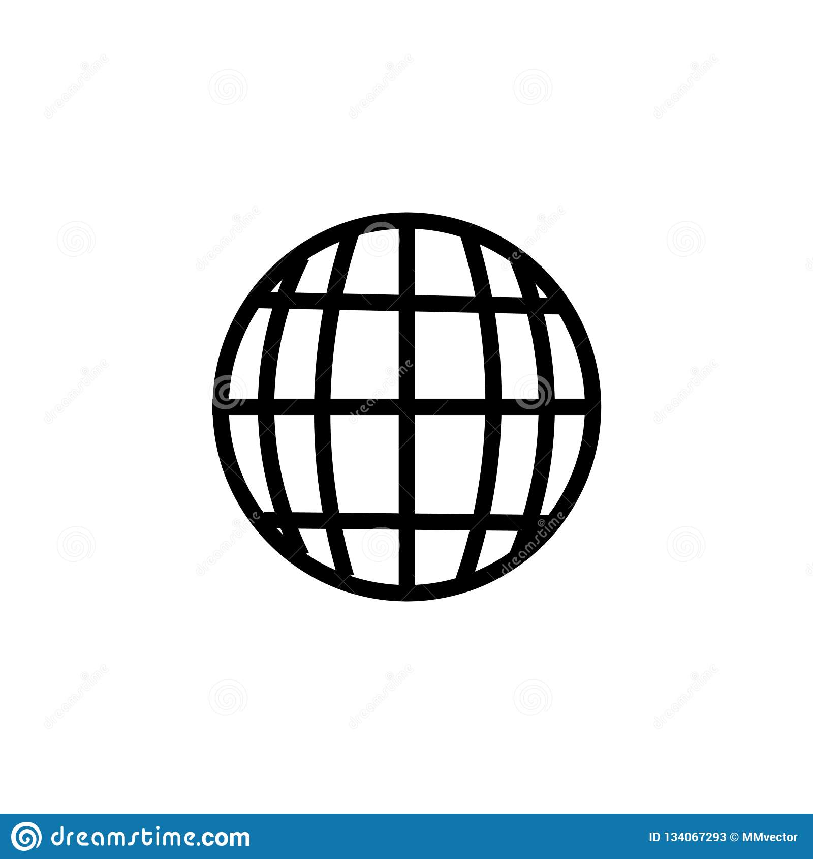 Grid world icon vector sign and symbol isolated on white background, Grid world logo concept