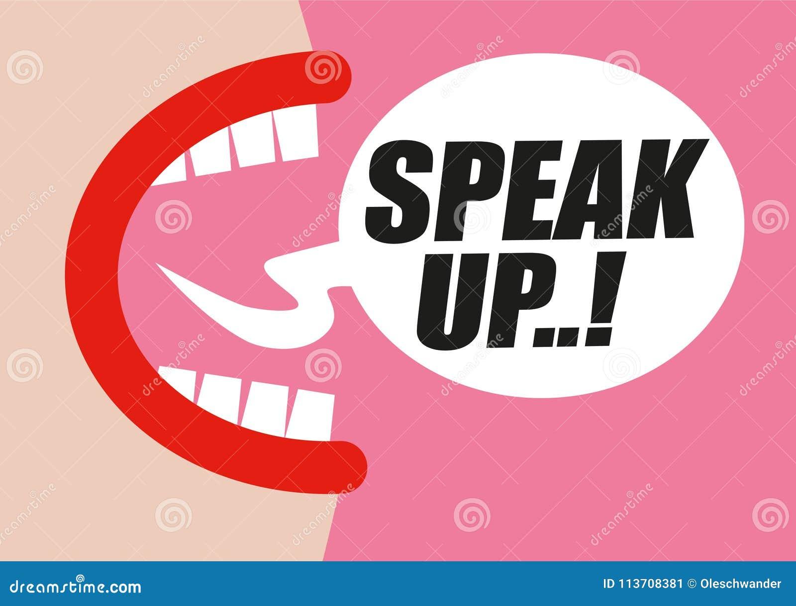 Gridare della donna PARLA SU nella bolla di parola - protestando per i diritti delle donne, dell uguaglianza e del comportamento
