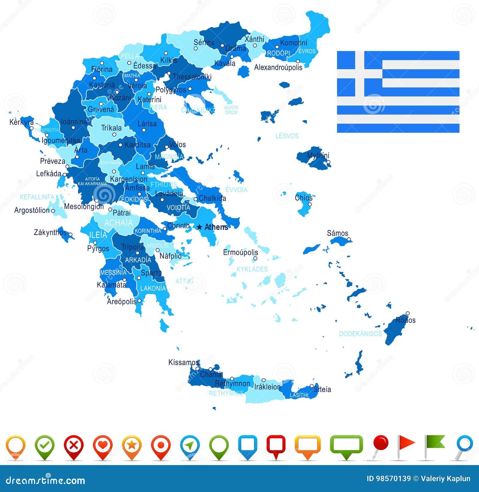 Karte Griechenland.Griechenland Karten Und Flaggenillustration Stock Abbildung