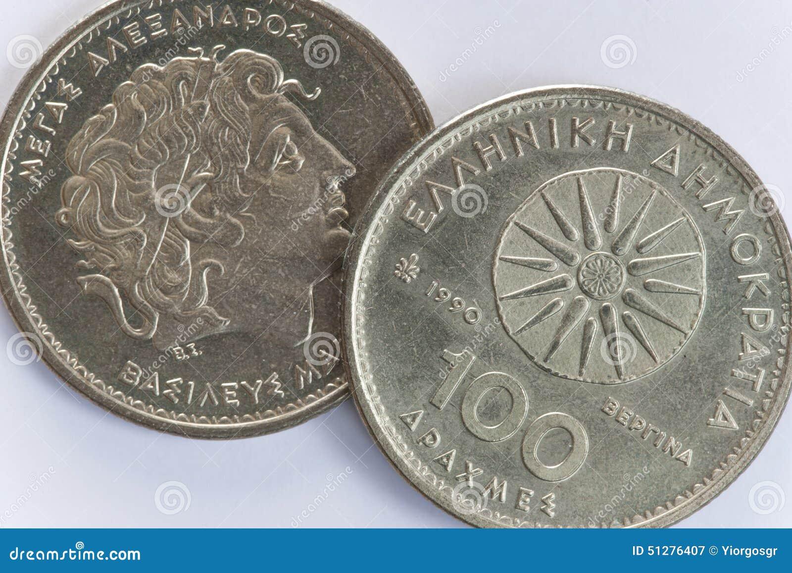 100 Griechische Münzen Der Drachme Mit Alexander Der Große Stockbild