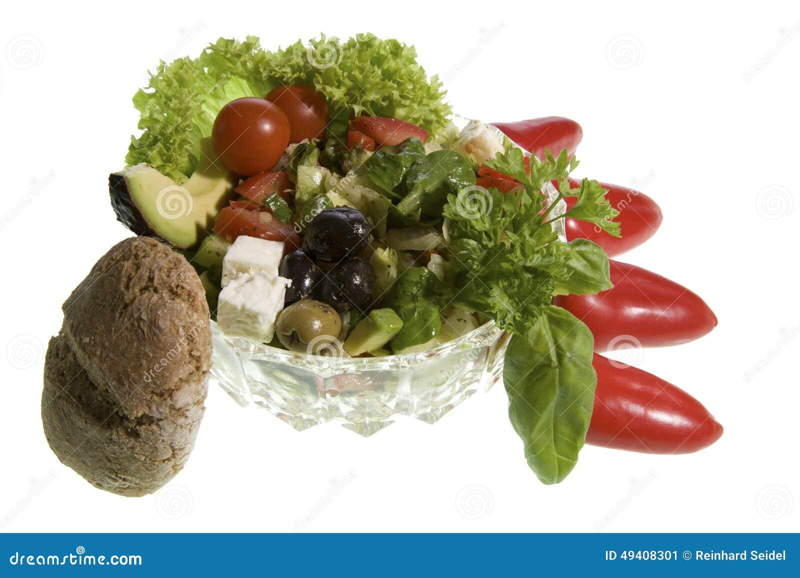 Download Griechischer Salat Mit Vollkornbrot Stockbild - Bild von brot, käse: 49408301