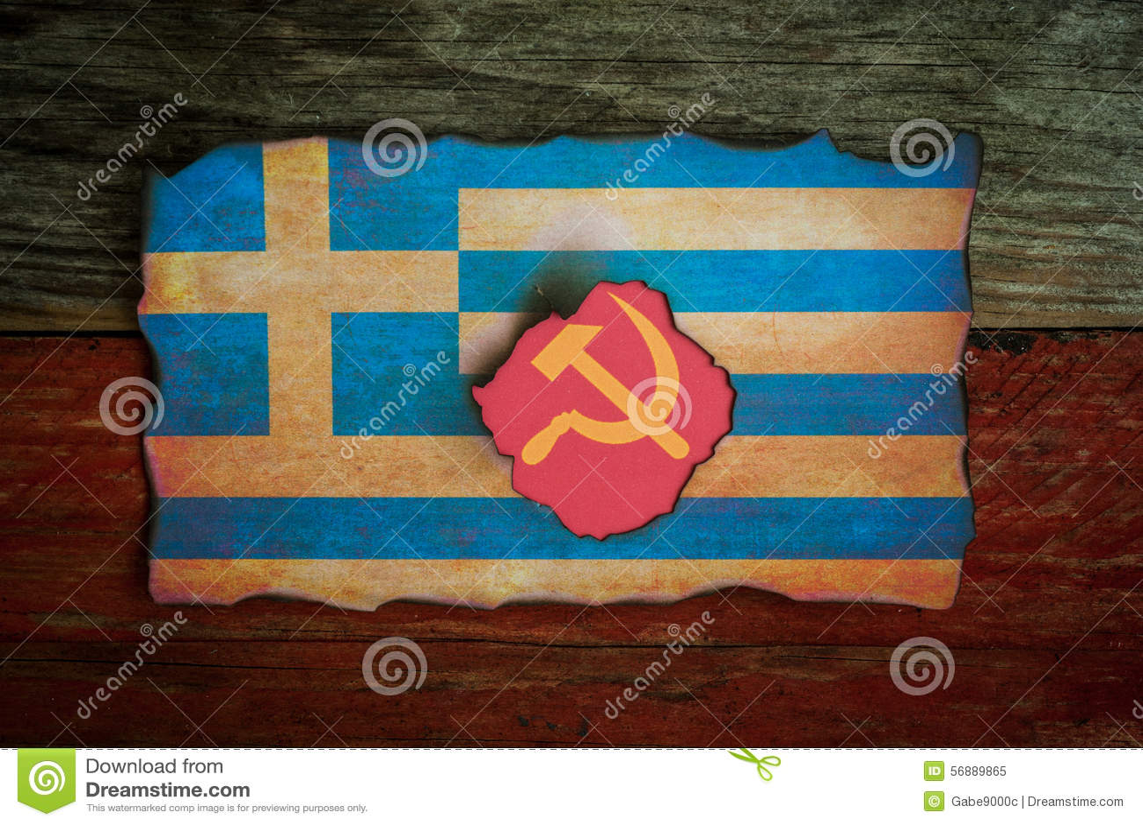 Griechisches Flaggenkommunistkonzept