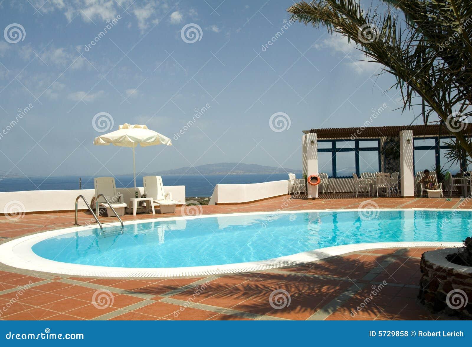 Griechisches santorini Inseln des Swimmingpools