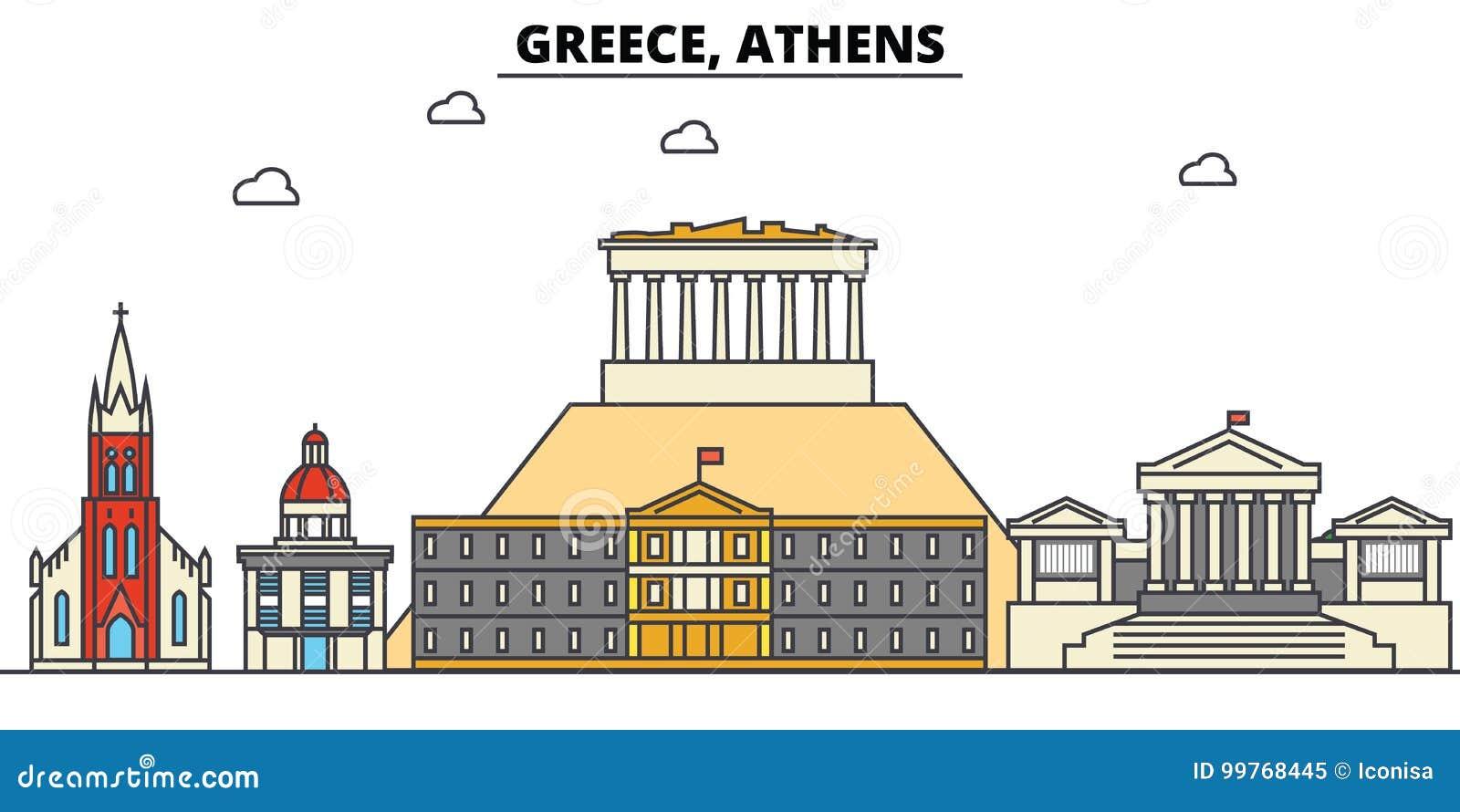 Griekenland, Athene De architectuur van de stadshorizon editable