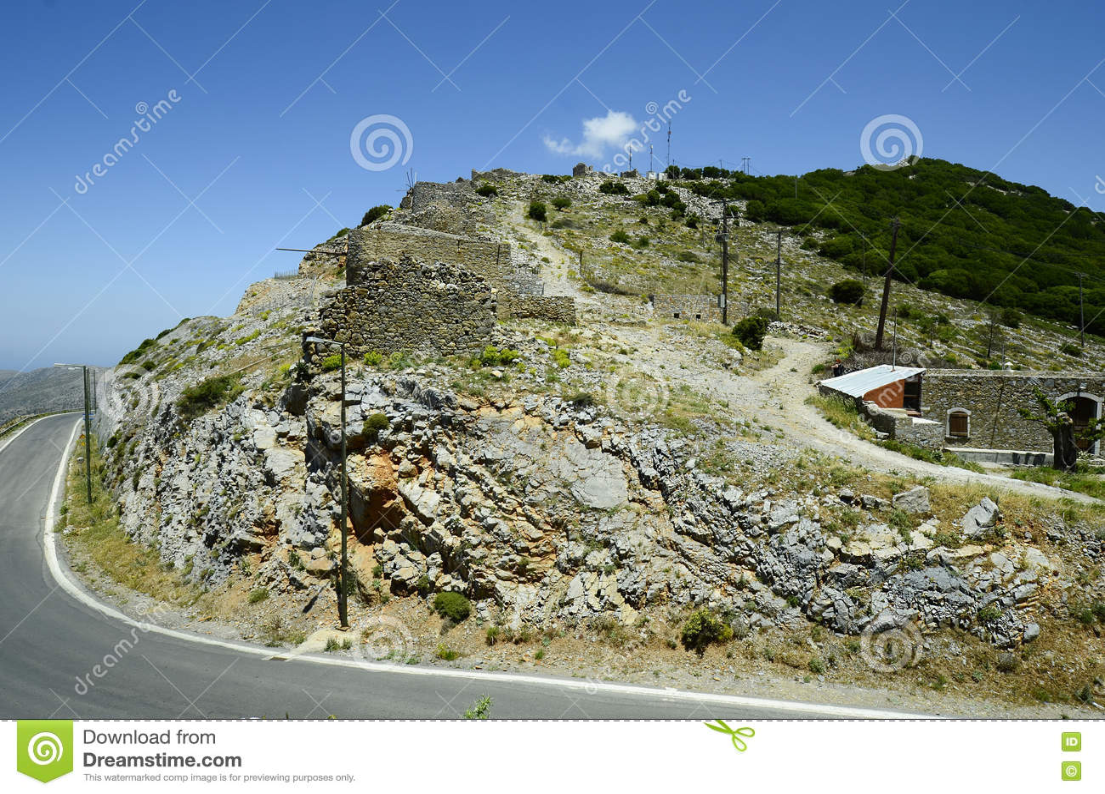 Griekenland, Kreta, ruïnes van windmolens