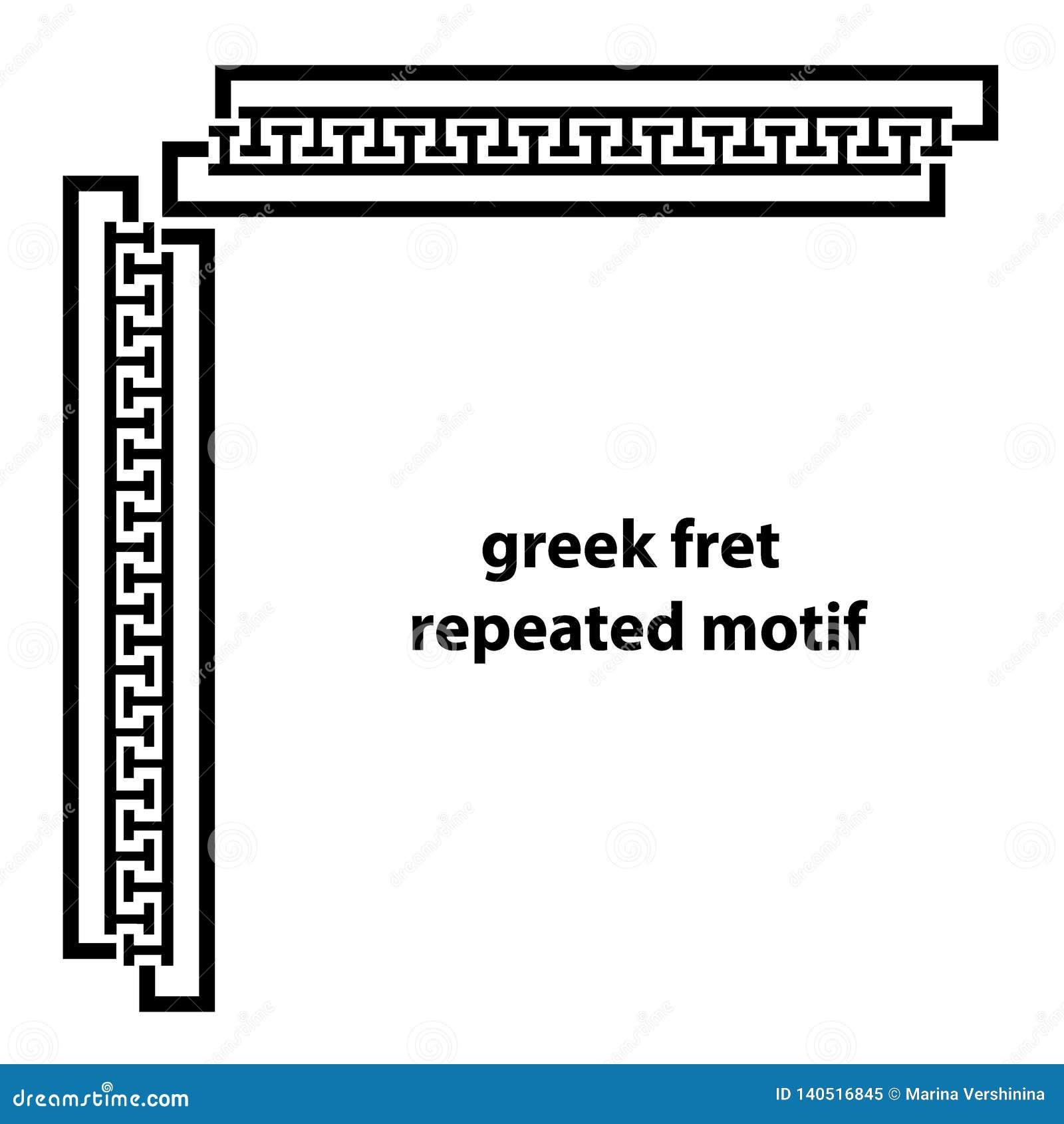 Grieks lijstwerk herhaald motief Eenvoudige zwart-witte achtergrond