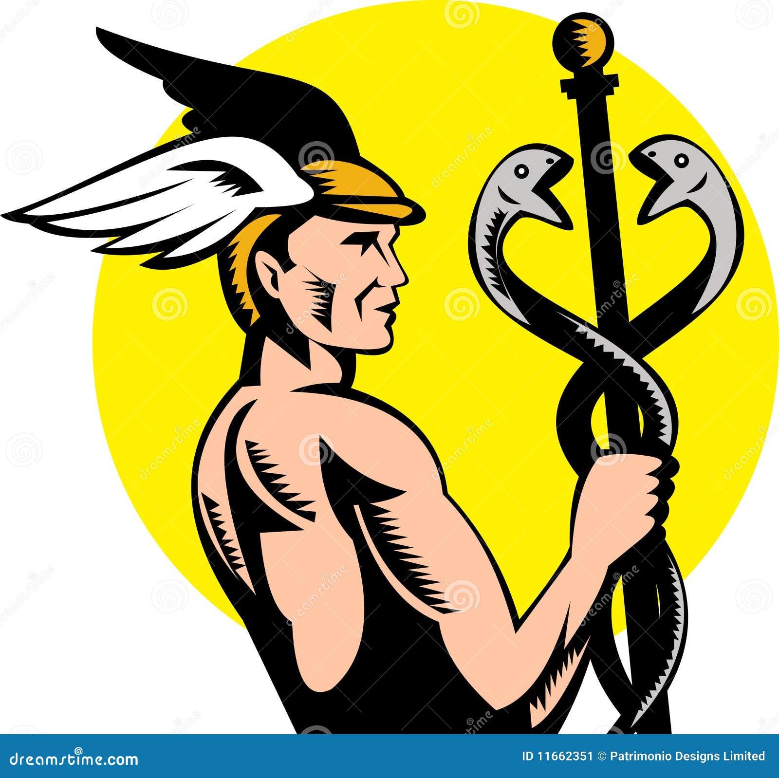 griekse caduceus van hermes van de god stock afbeelding