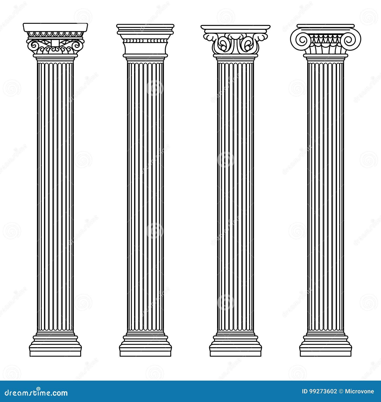 Griekse en roman architectuur klassieke steen colomns Overzichts vectorillustratie