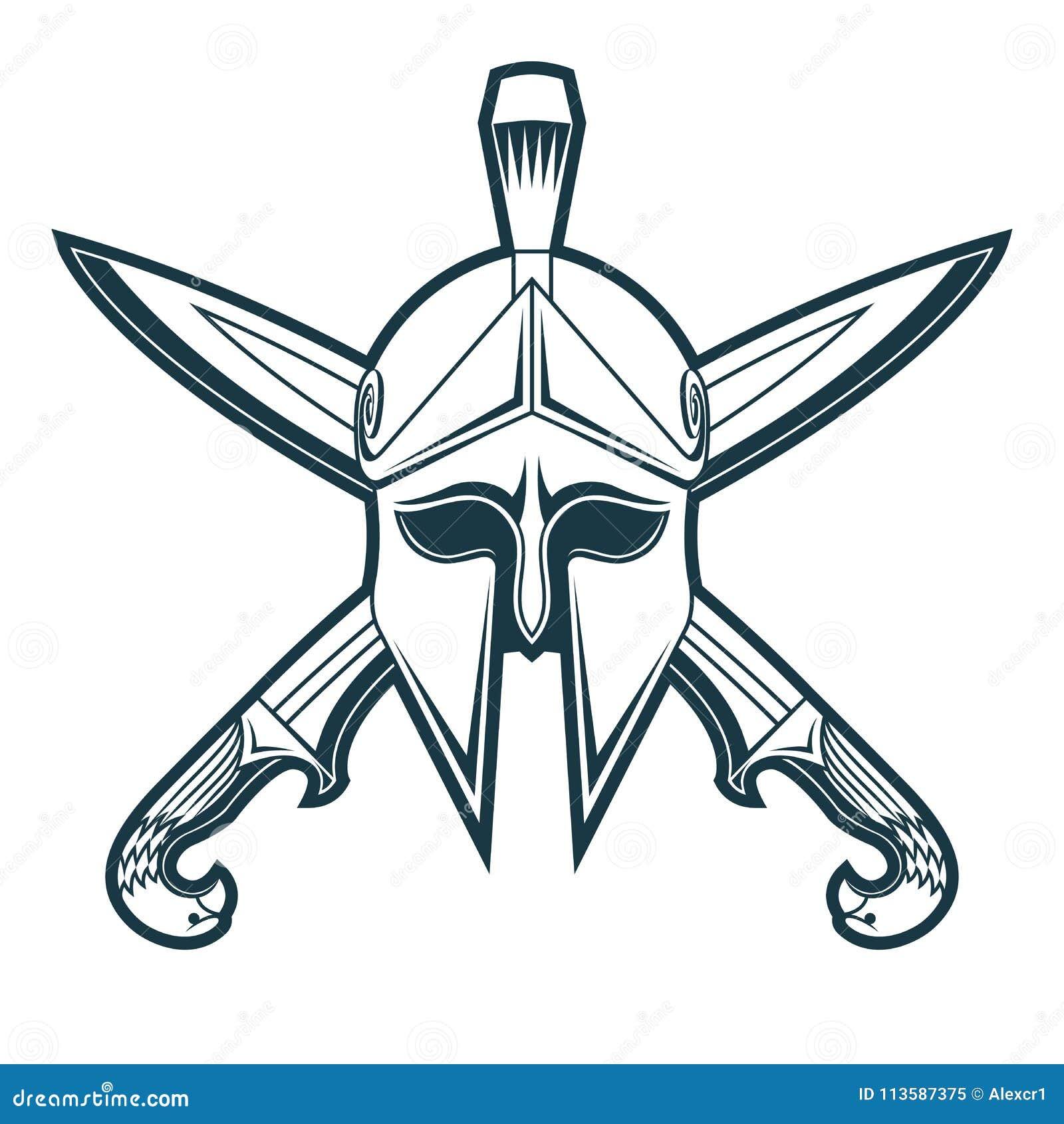 Griekse helm met gekruiste zwaarden