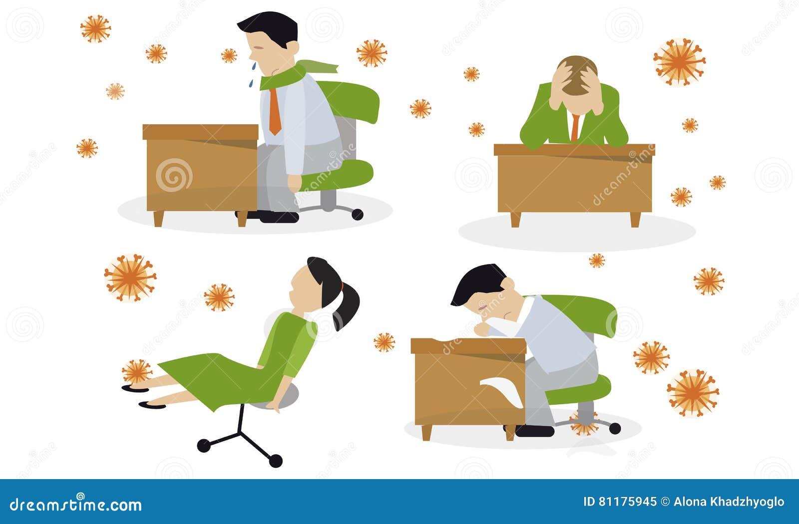 Griepbesmetting Virus Verkoudheid Vector Illustratie Illustratie