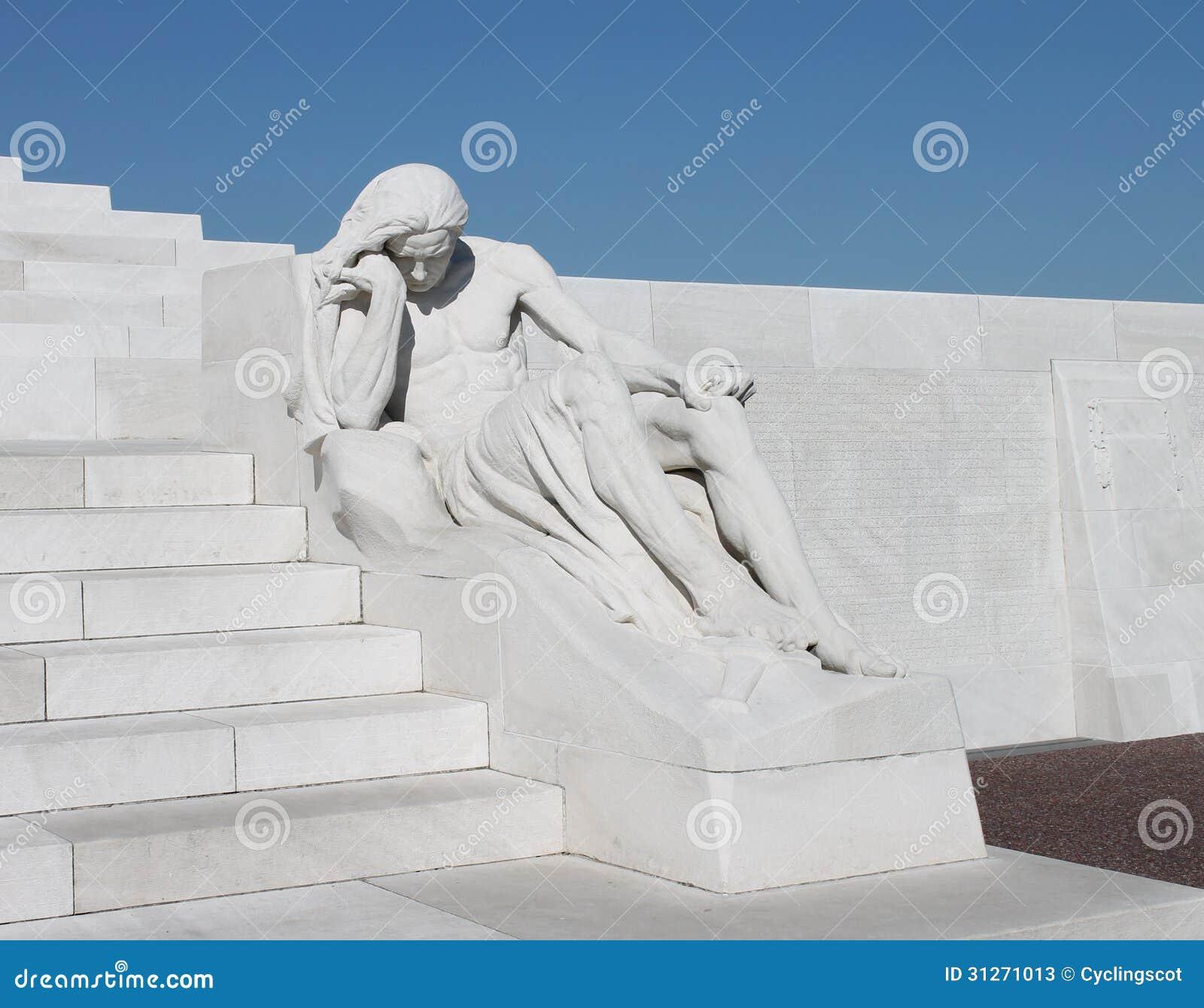 Vimy Ridge Memorial Park: Grieving Figure Sculpture At Canadian Vimy Ridge Memorial