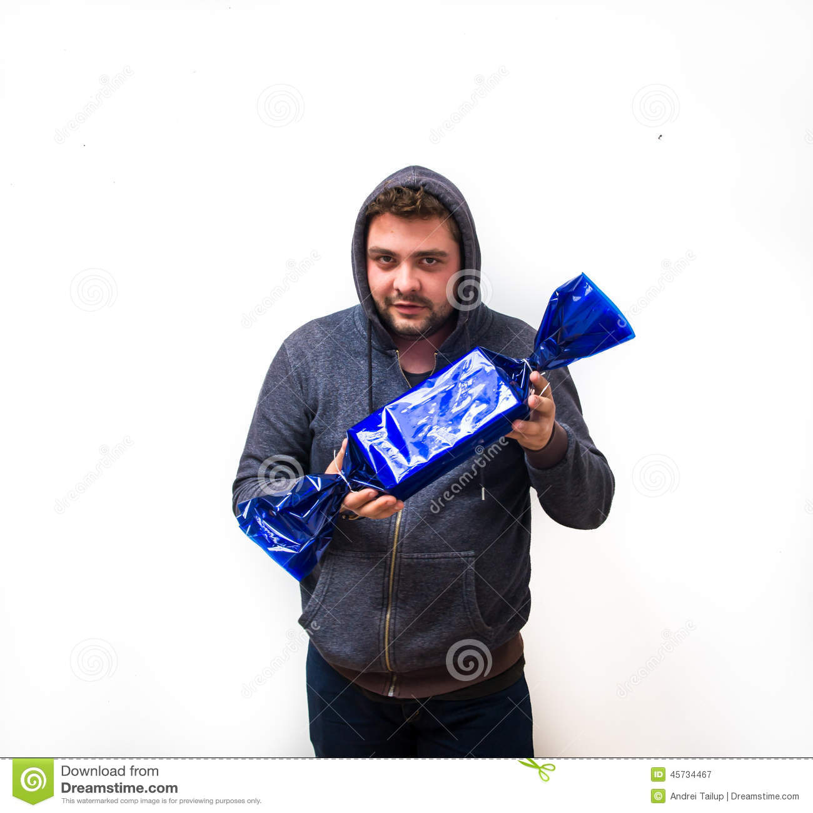 Griezelige mens met suikergoed