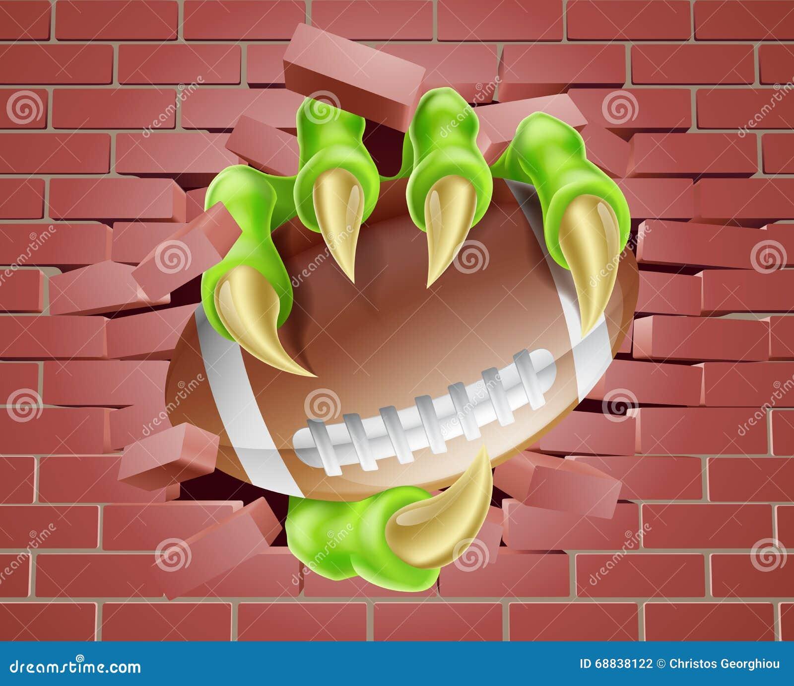 Griffe avec la boule du football traversant le mur de briques