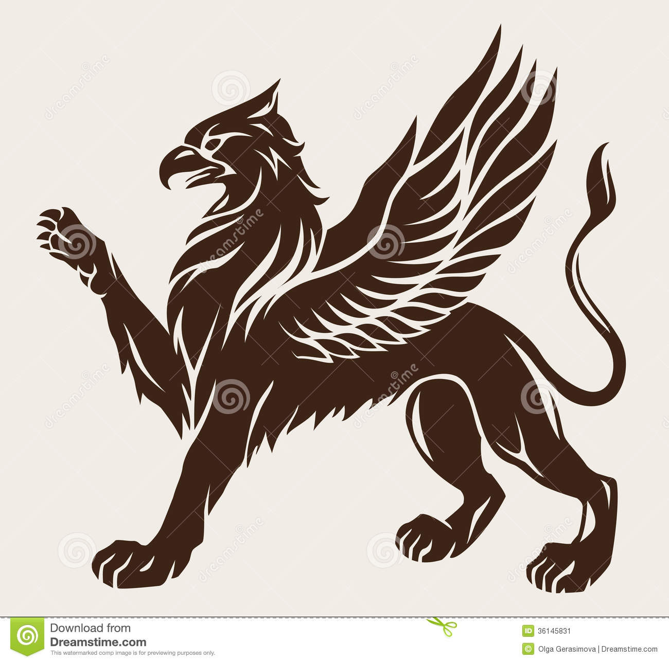 Griffin tattoo stock vector illustration of animal for The griffin