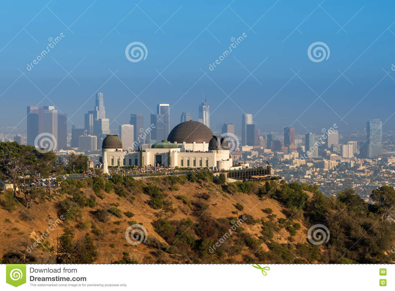 Griffith Observatory and downtown Los Angeles in CA