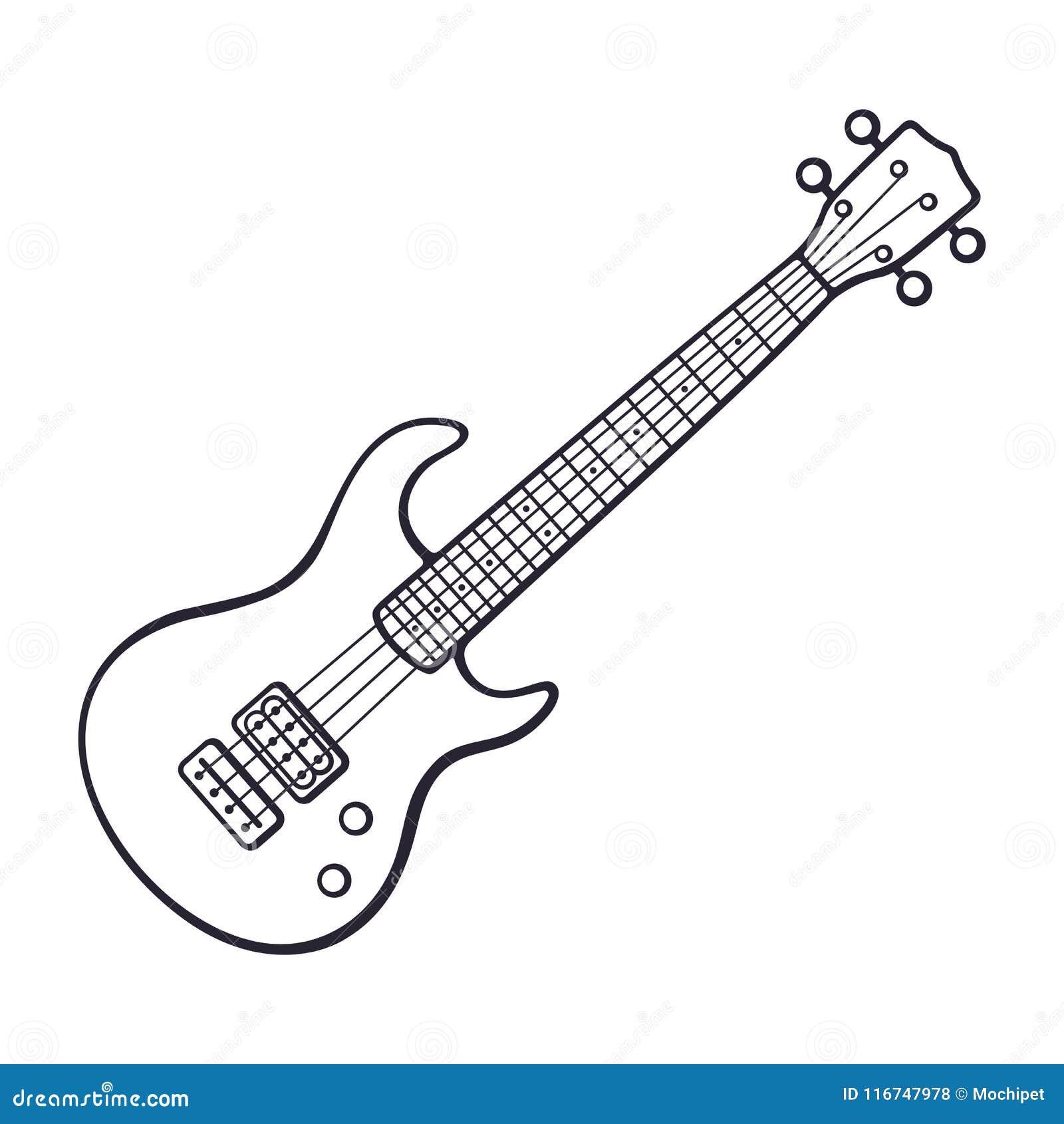 Griffonnage d électro de roche ou de guitare basse