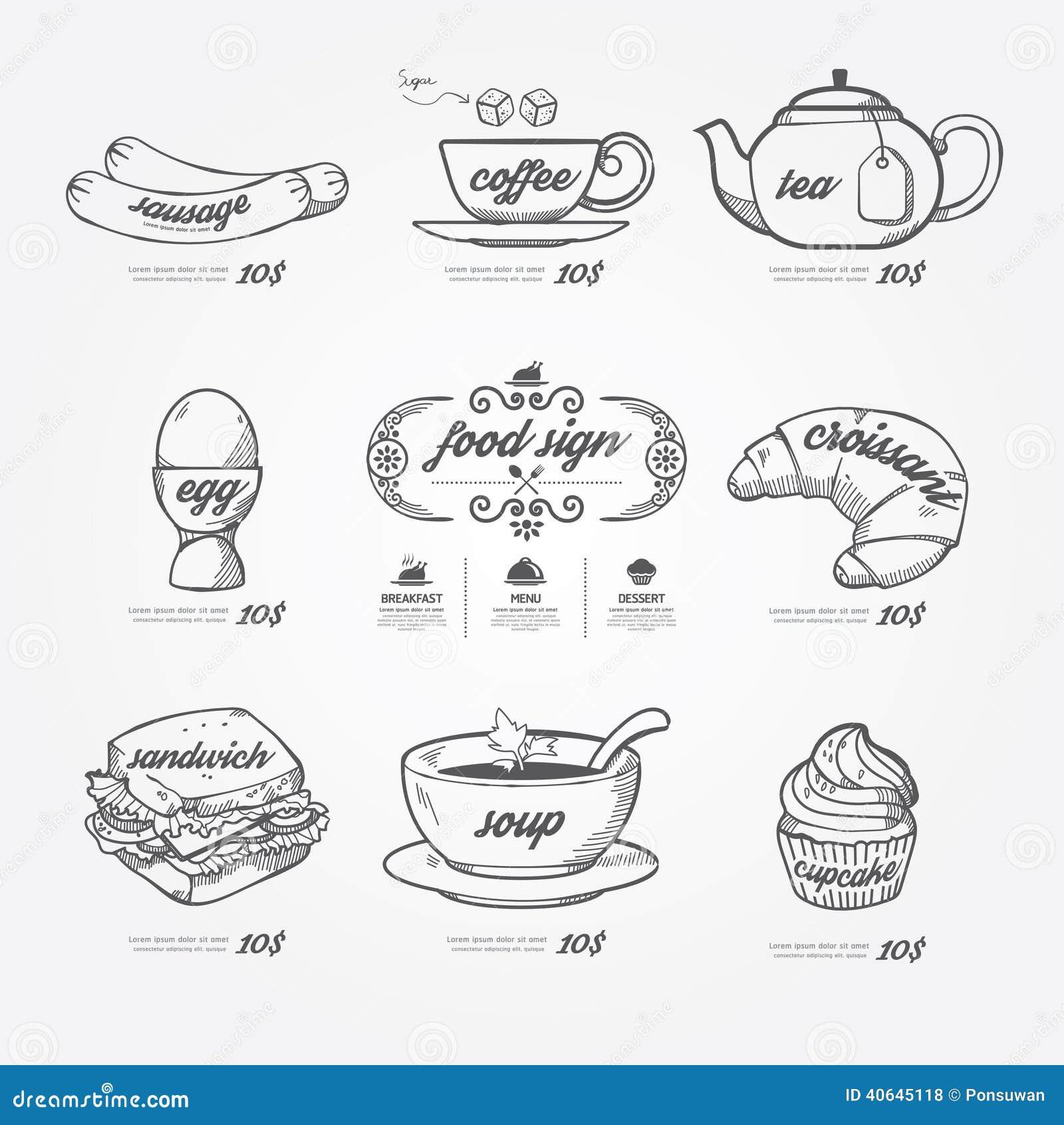 Griffonnage d icônes de menu dessiné sur le fond de tableau Vintage de vecteur