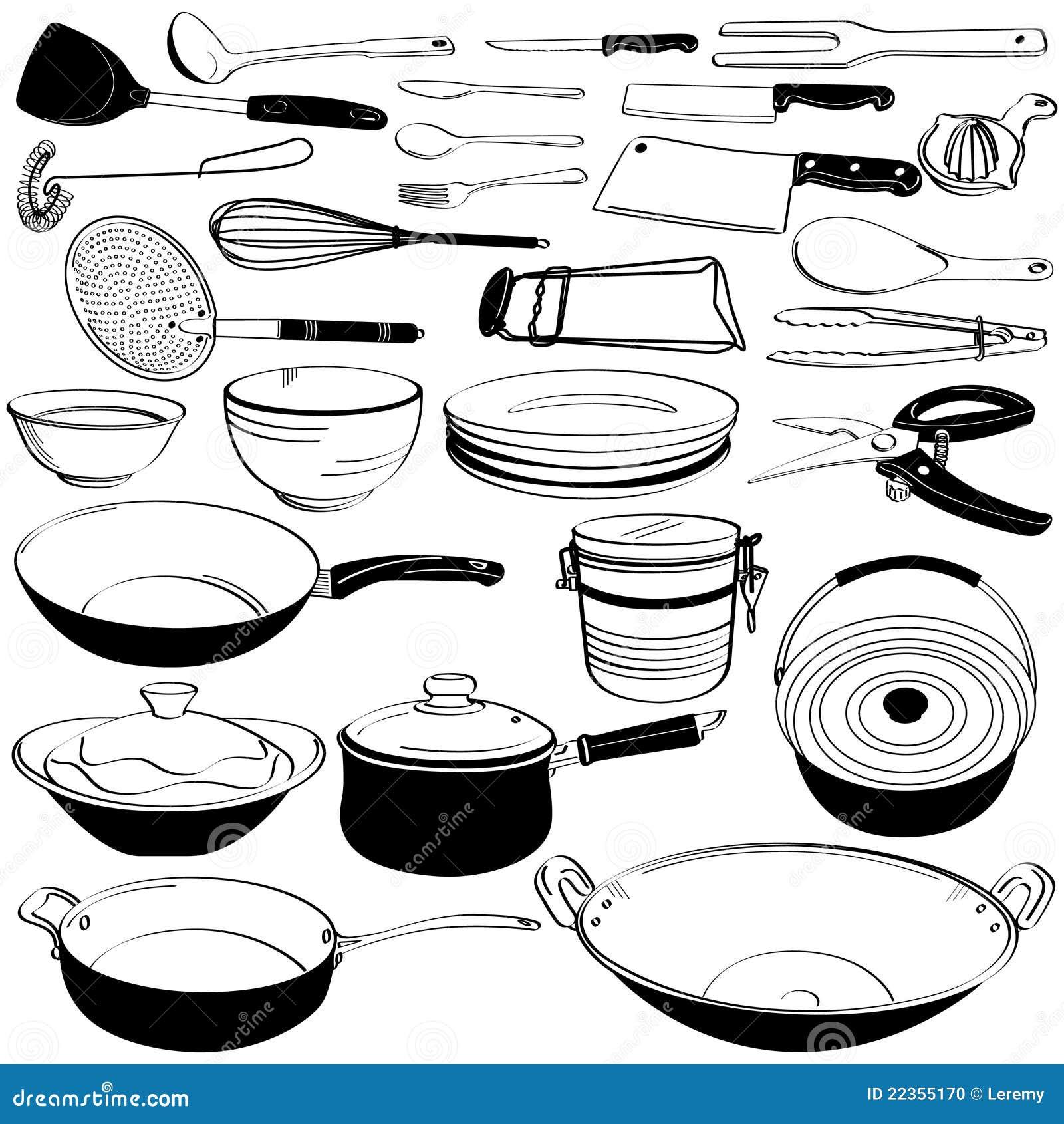 Griffonnage de mat riel d 39 ustensile d 39 outil de cuisine illustration de vecteur illustration du - Outil de cuisine liste ...