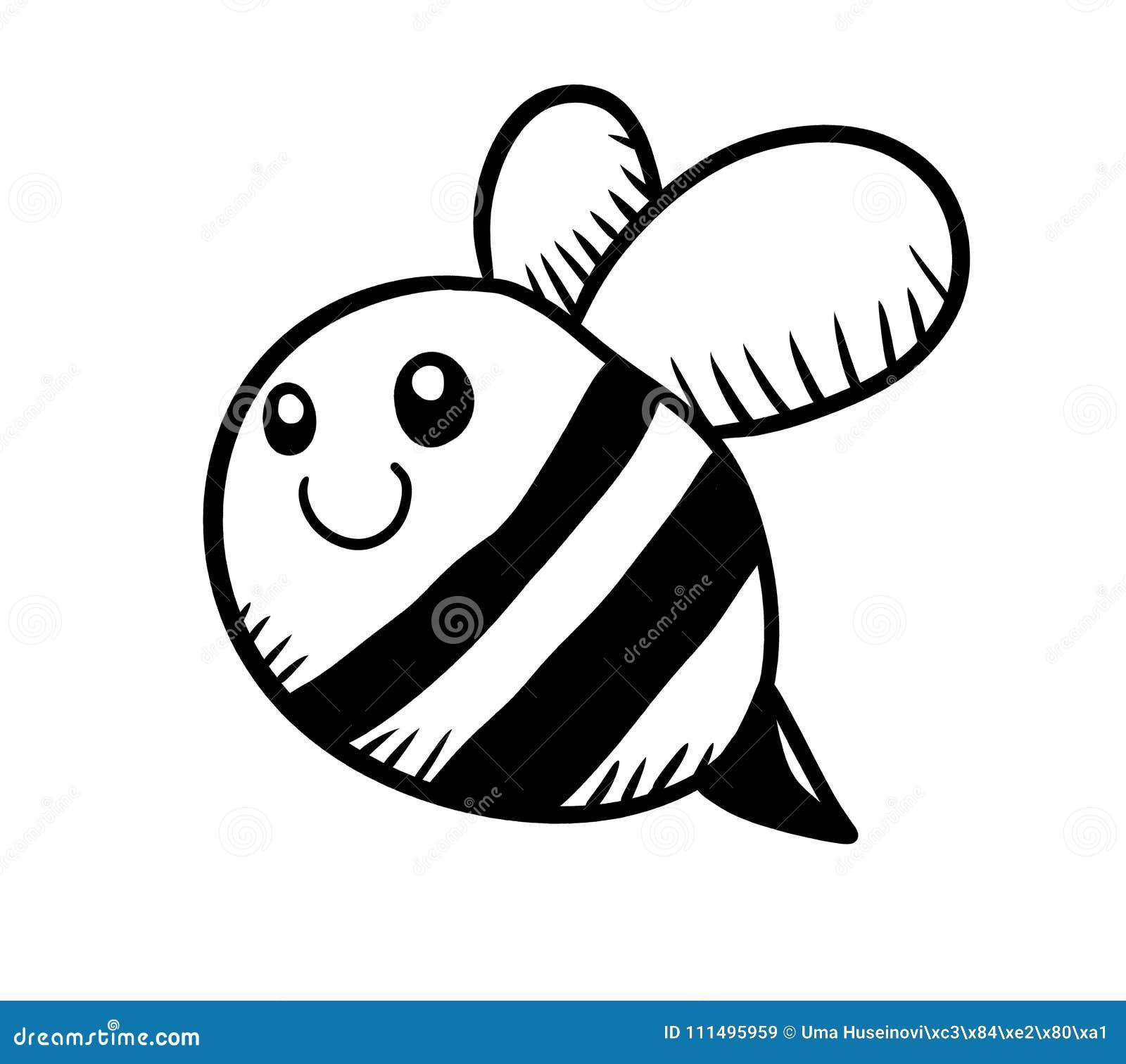 Griffonnage Noir Et Blanc Adorable Dabeille Illustration