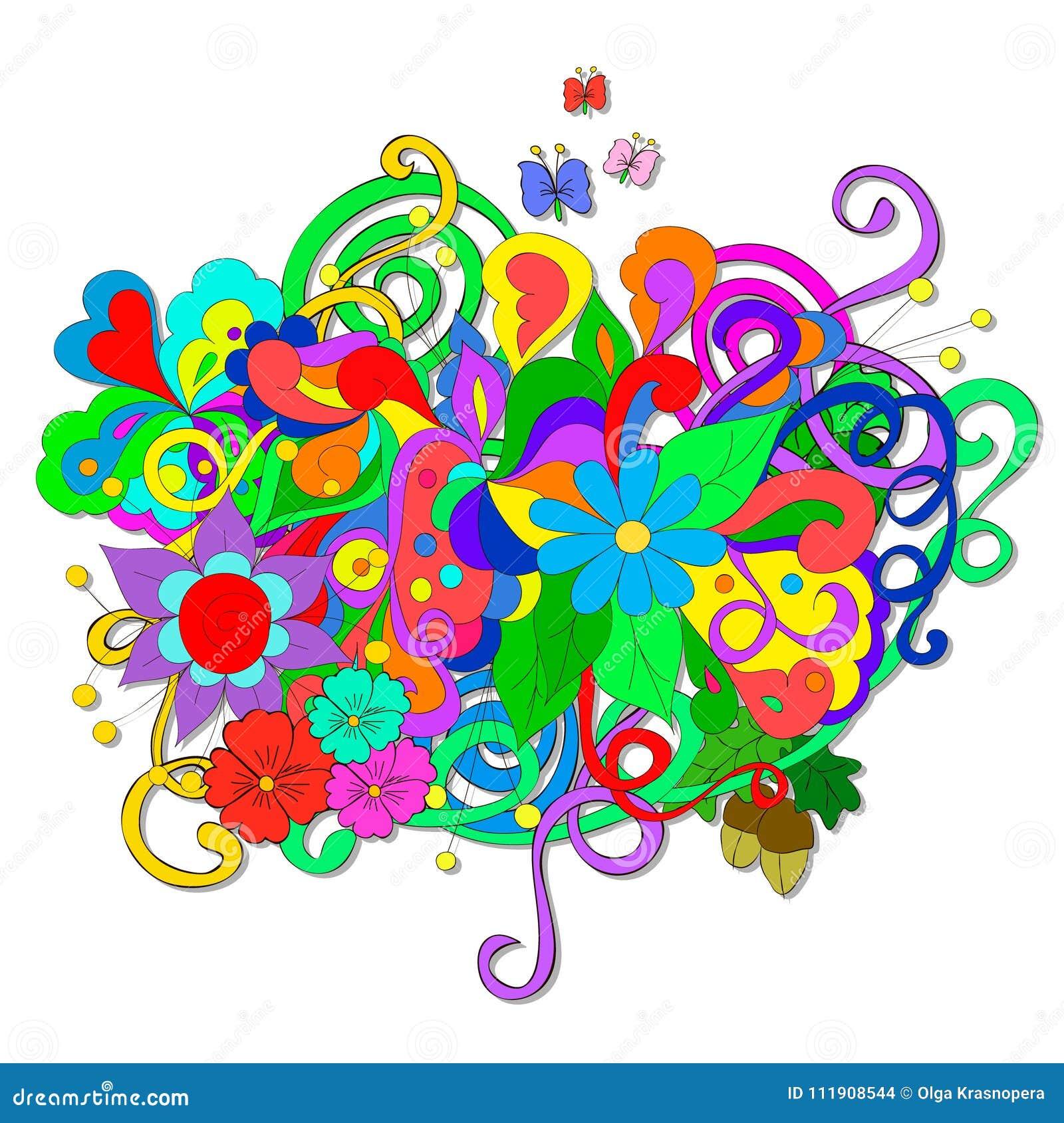 Griffonnages d été avec des fleurs et le remous