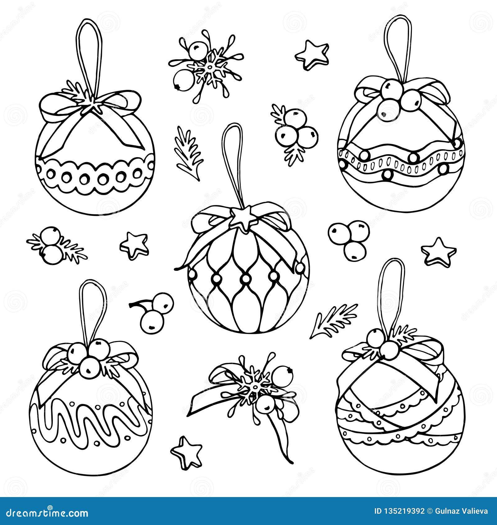 Griffonnages de jouets d arbre de Noël de vecteur sur le fond blanc