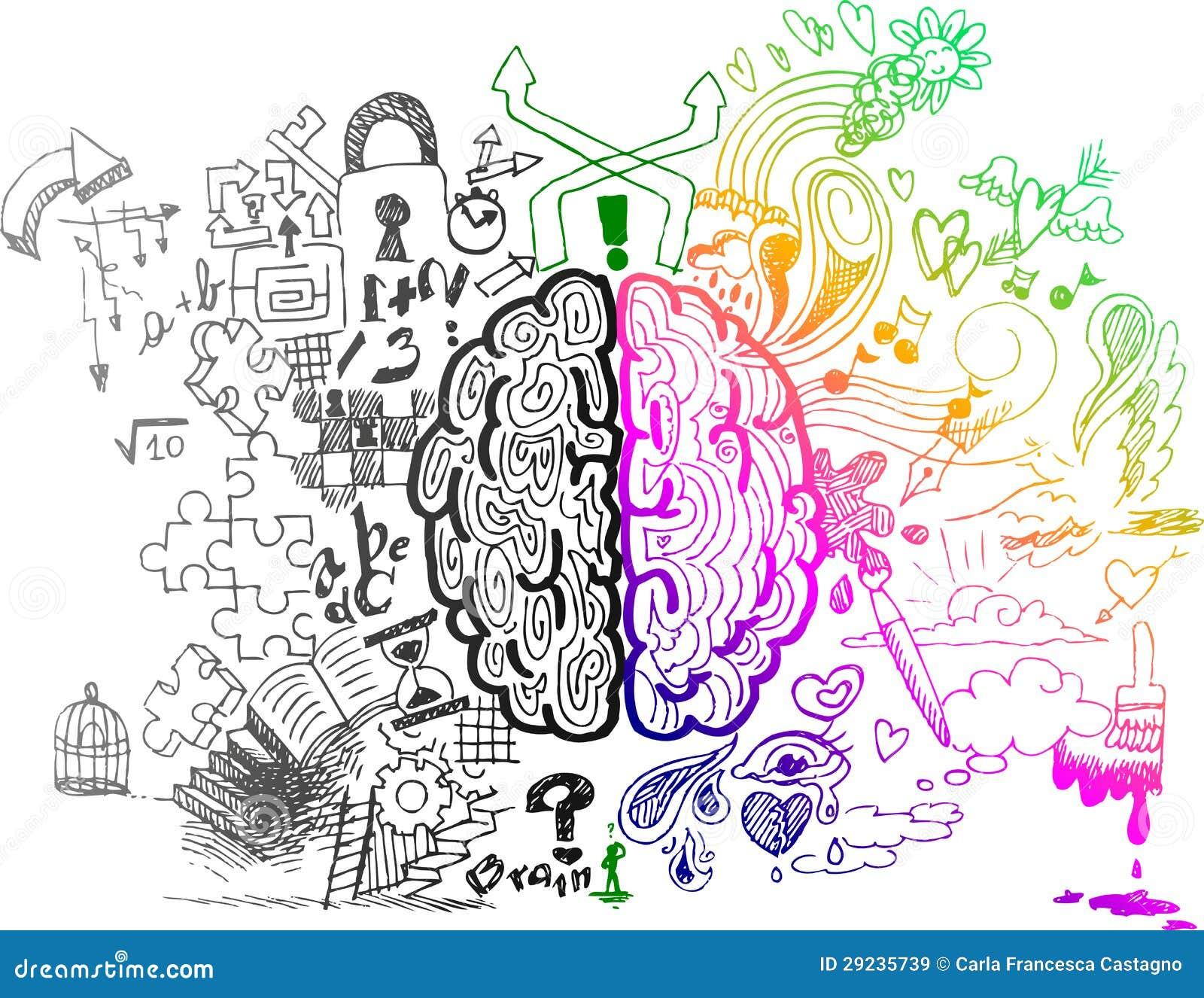Griffonnages peu précis des hémisphères de cerveau