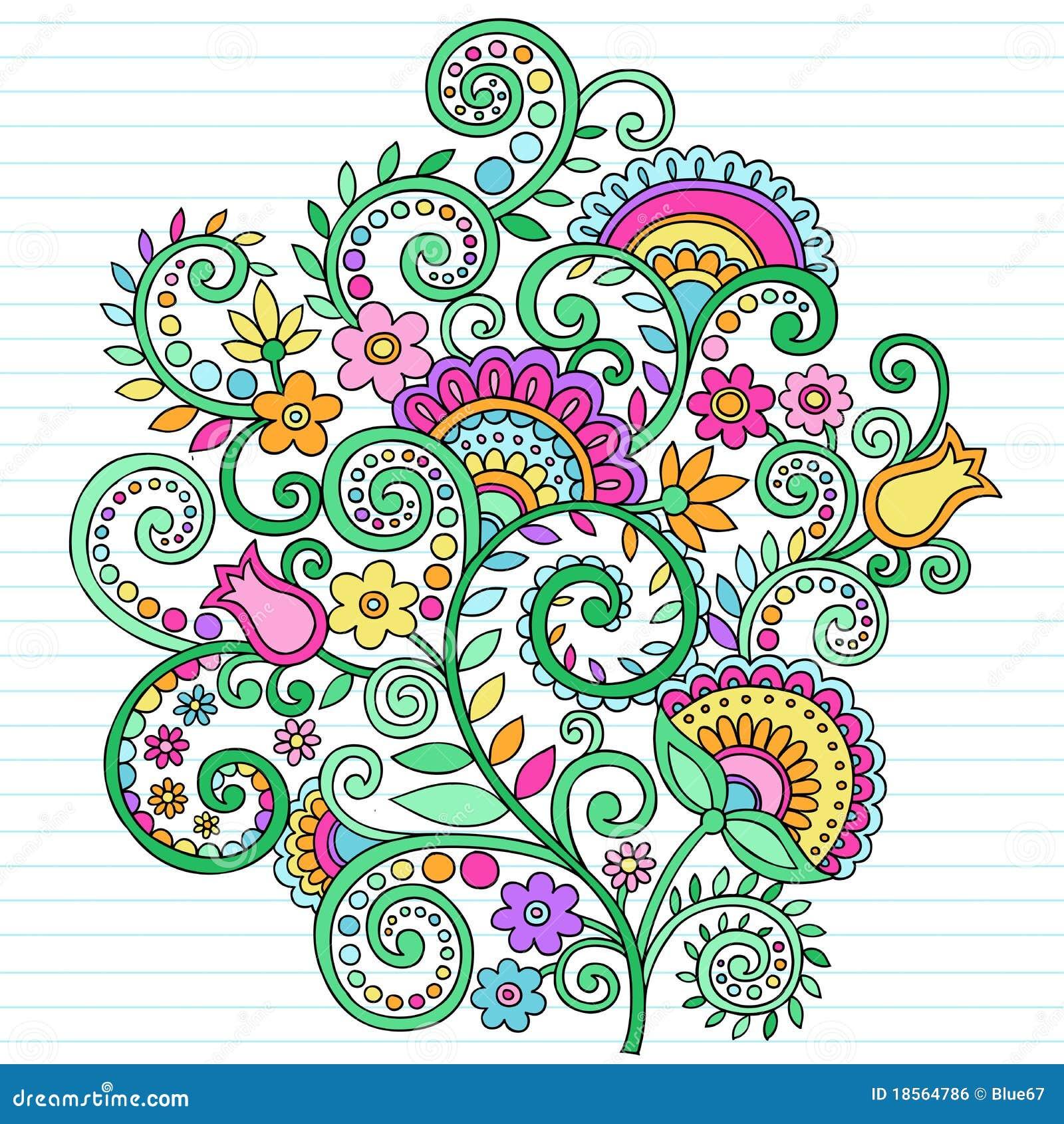 Griffonnages psychédéliques de cahier de fleurs