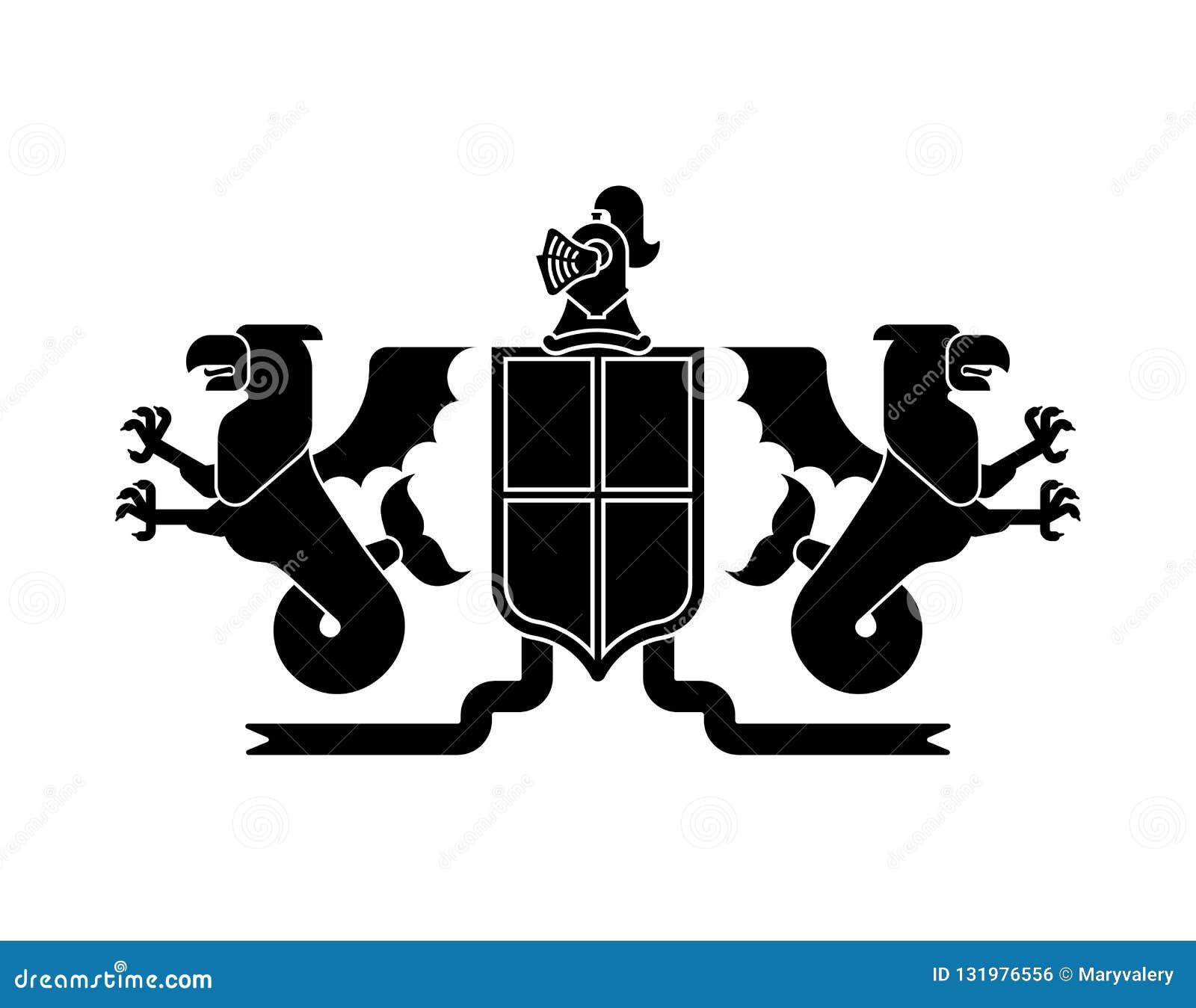 Grifo do mar do protetor e dragão e cavaleiro heráldicos Helmet Fantas
