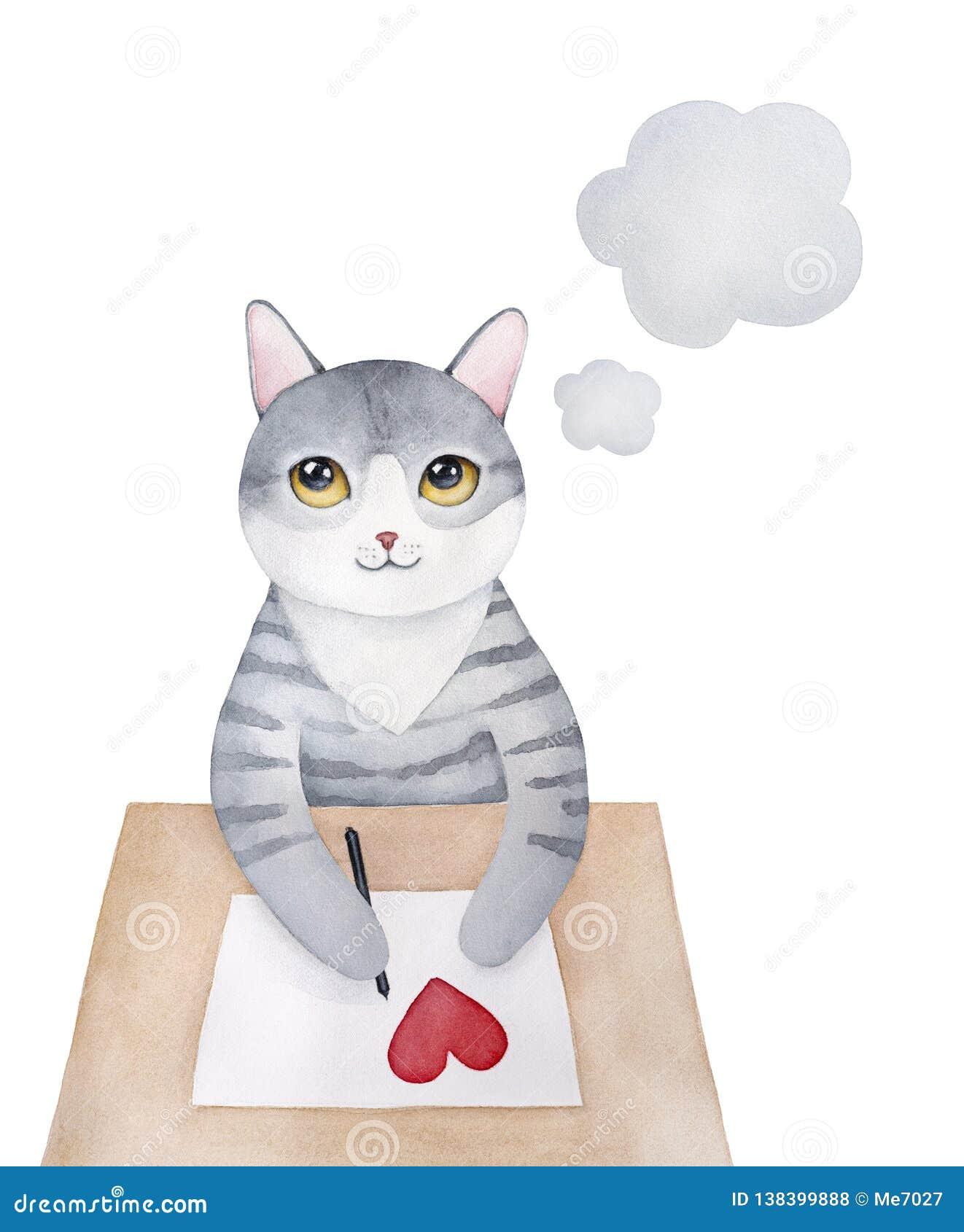 Grigio dolce poca lettera di amore di scrittura del carattere del gattino