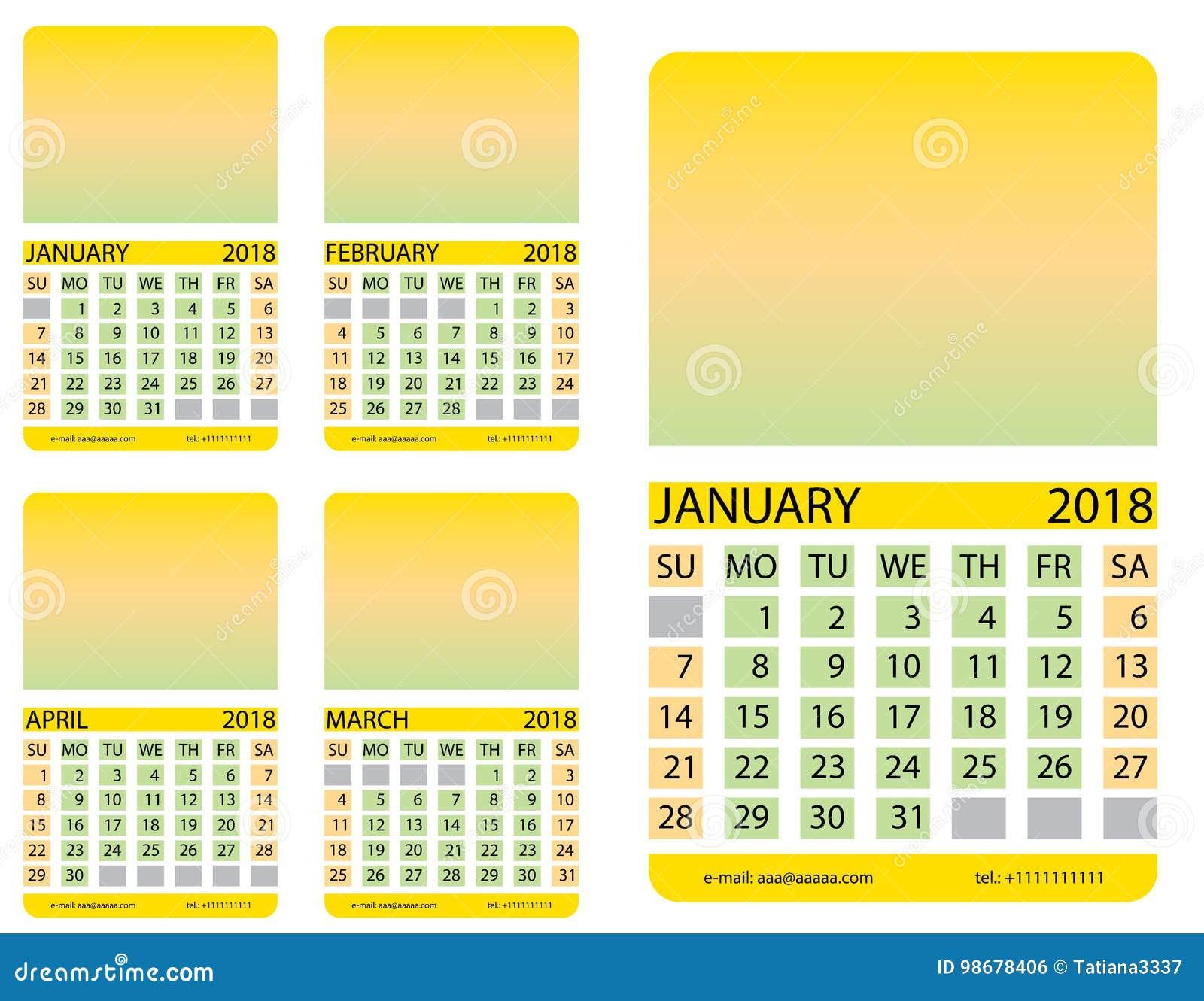 Calendario Gennaio.Griglia Del Calendario Gennaio Febbraio Procedere Aprile