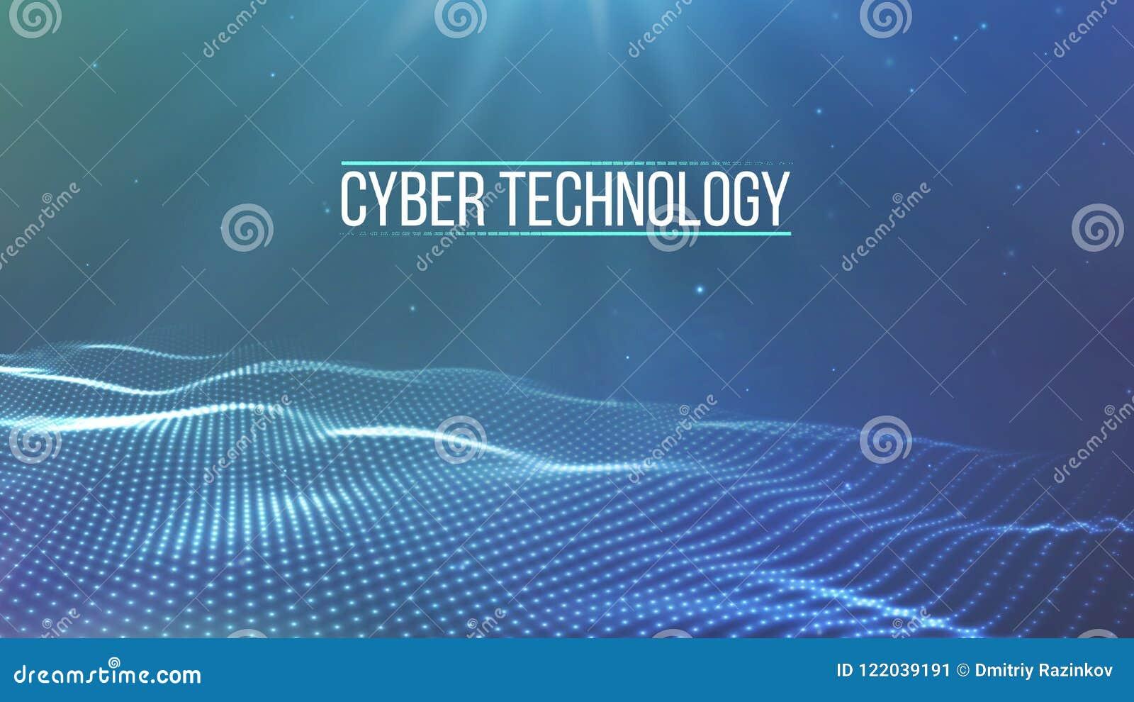 Griglia del fondo 3d Wireframe futuristico di tecnologia di Ai di tecnologia della rete cyber del cavo Intelligenza artificiale S
