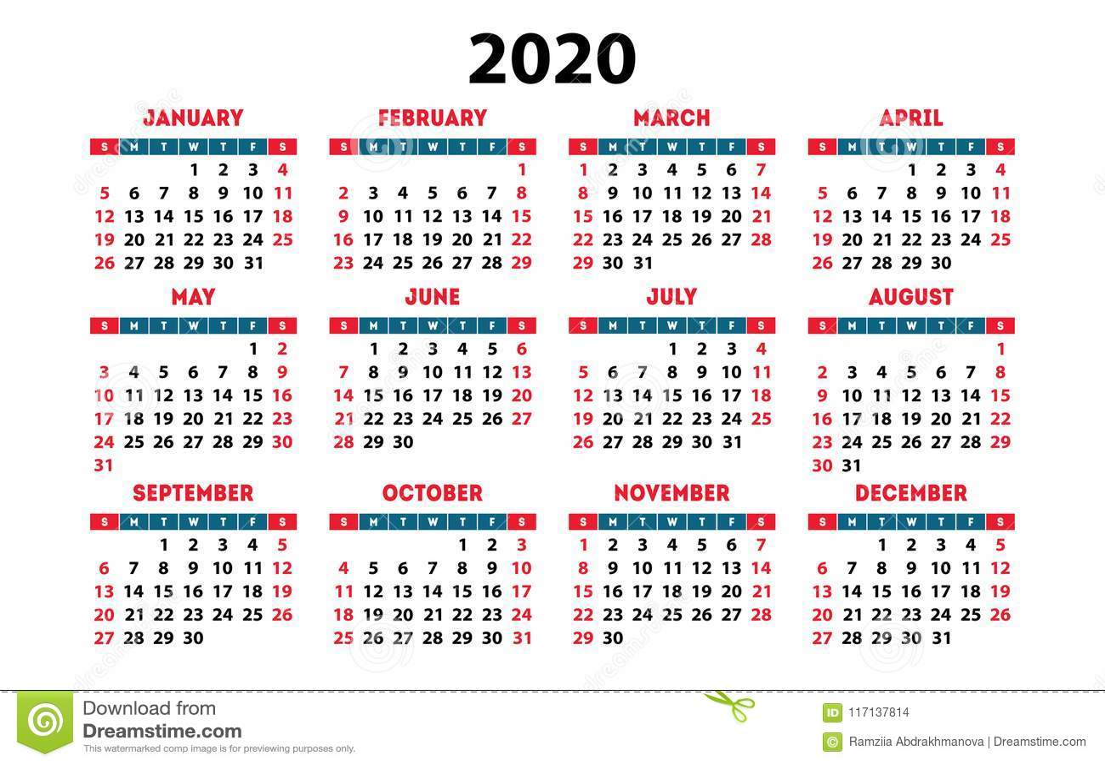 Calendario Annuale 2020.Griglia Di Base Della Tasca Di Vettore Del Calendario 2020