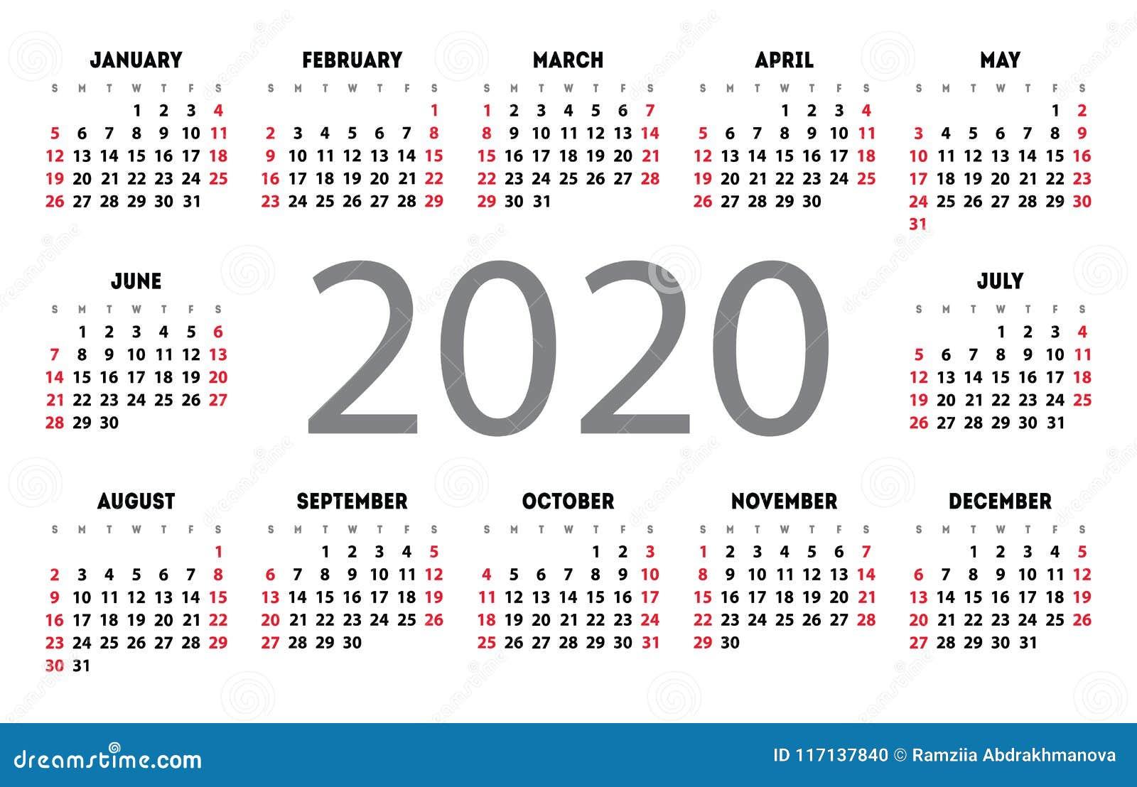 Anno Calendario 2020.Griglia Di Base Della Tasca Di Vettore Del Calendario 2020