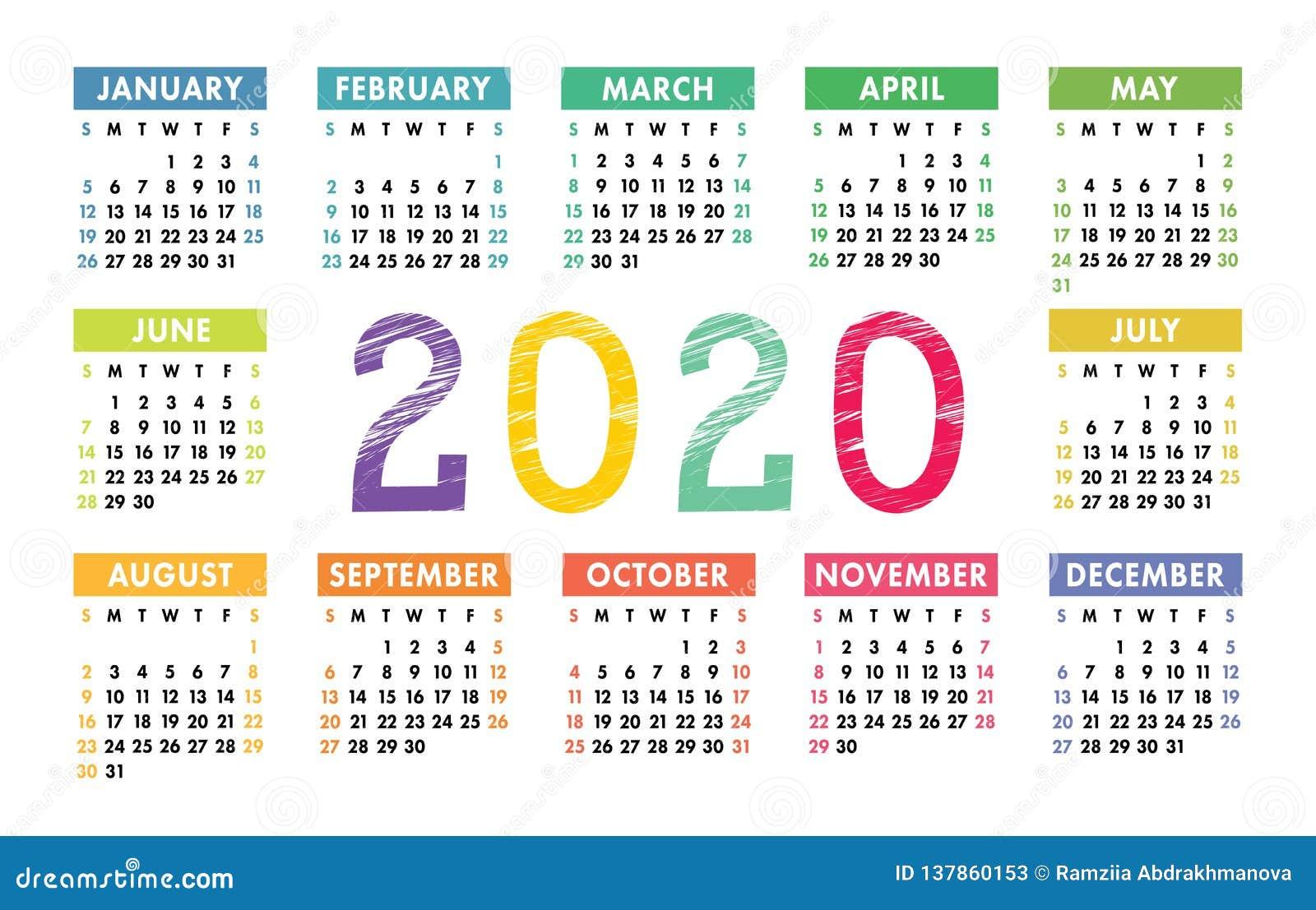 Calendario 2020 Orizzontale.Griglia Di Base Della Tasca Di Vettore Del Calendario 2020