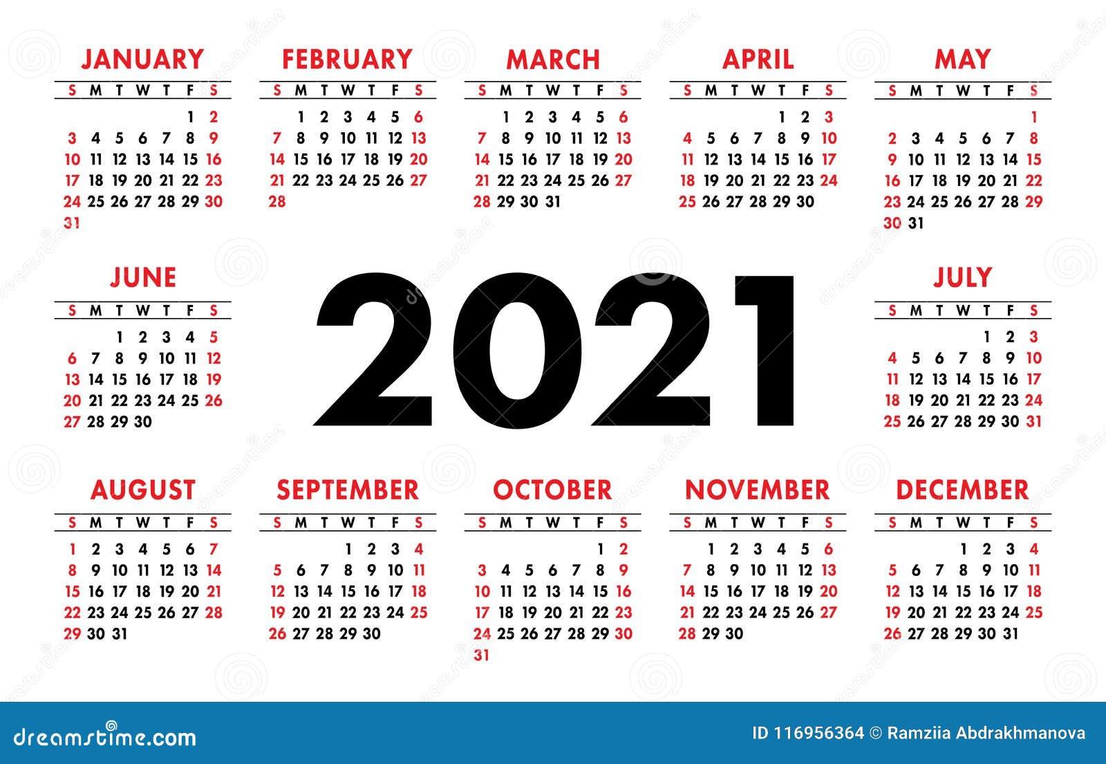 Griglia Di Base Di Vettore Del Calendario 2021 Modello Di