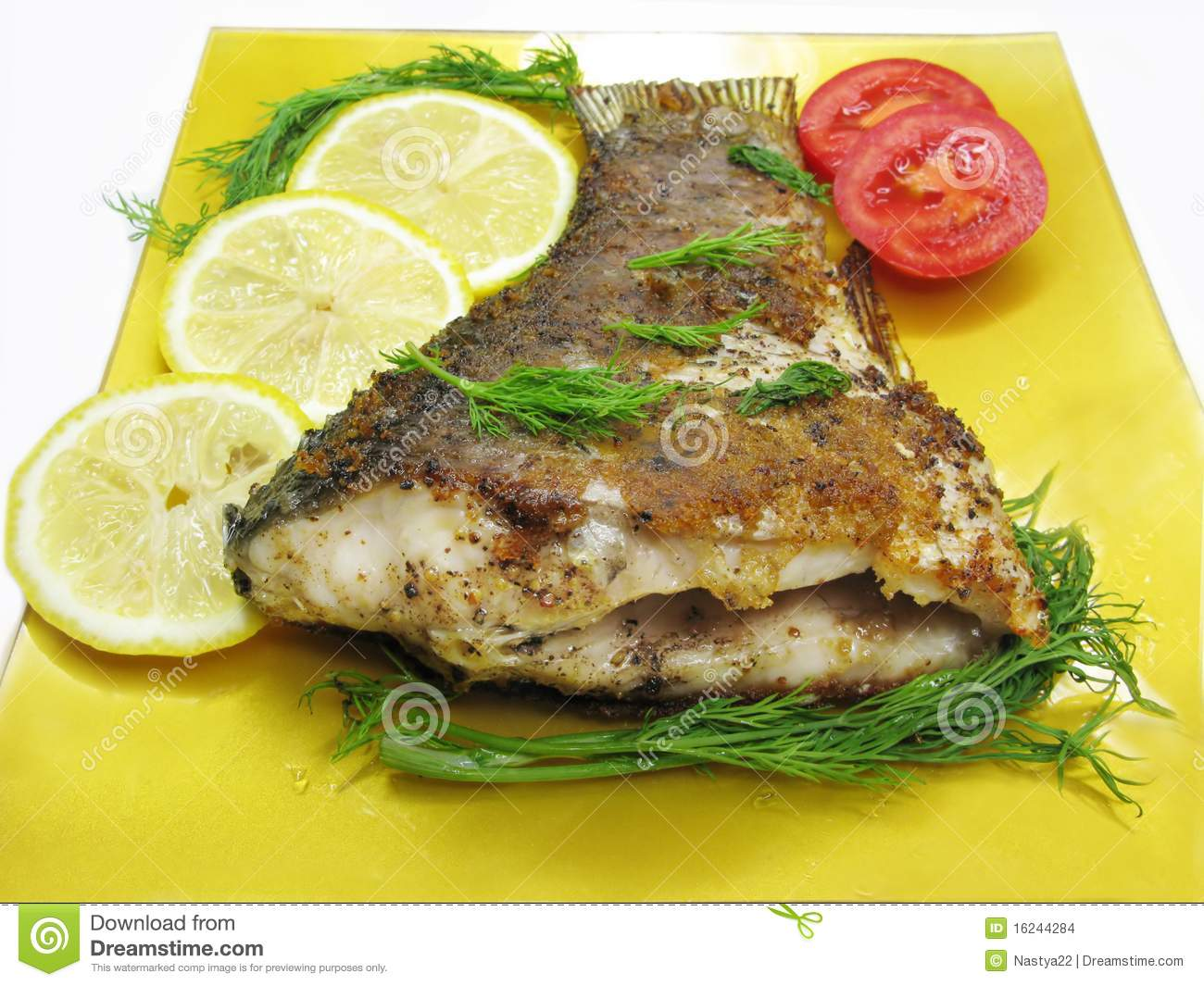 Griilled fish with vegetables stock images image 16244284 for Fish with vegetables