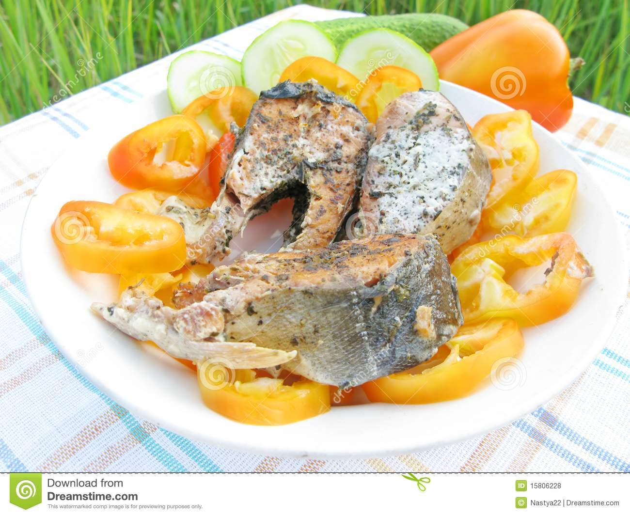 Griilled salmon fish with vegetables royalty free stock for Fish with vegetables