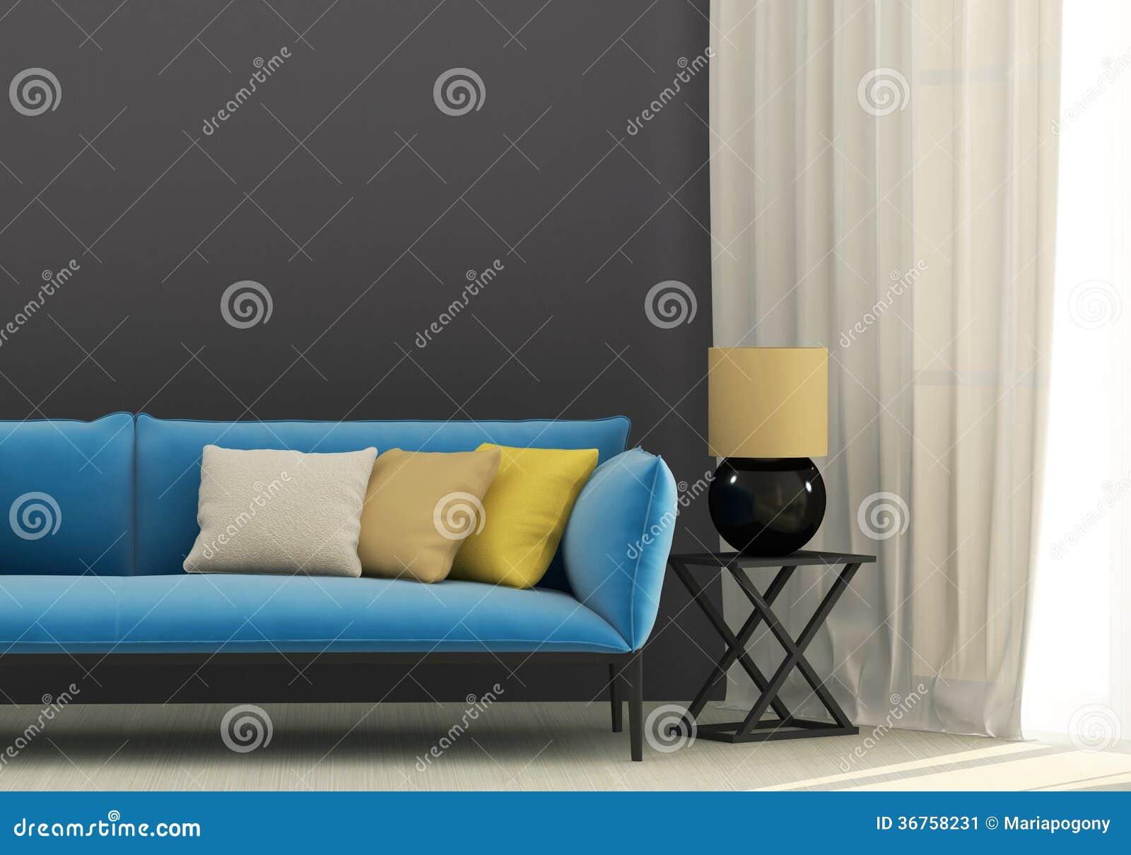 Grijs Binnenland Met Blauwe Bank Stock Afbeelding - Afbeelding ...