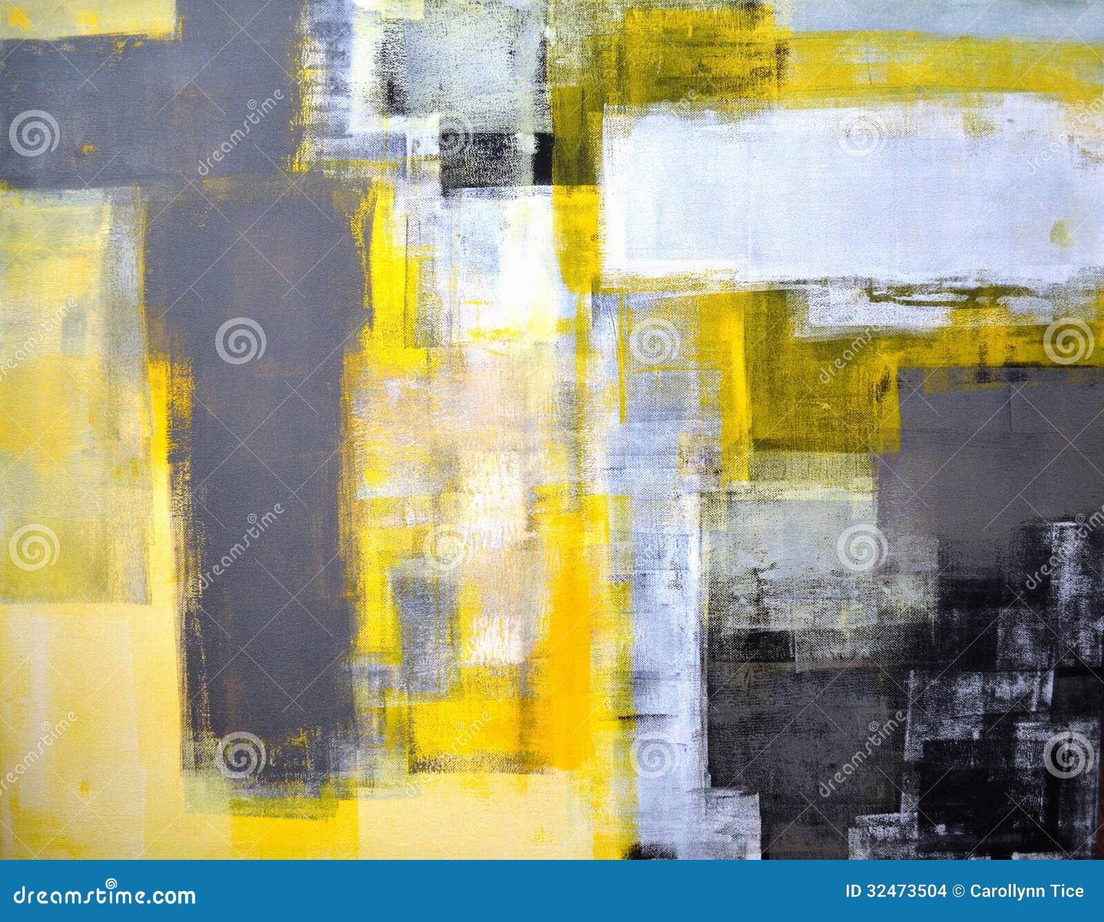 Grijs en Geel Abstract Art Painting