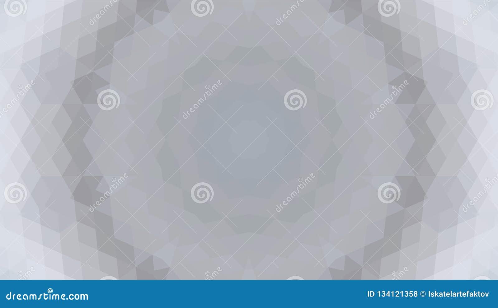 Grijs geometrisch ontwerp, grijze abstracte achtergrond Mozaïek van een vectorcaleidoscoop, Patroon voor bedrijfsadvertentie, boe
