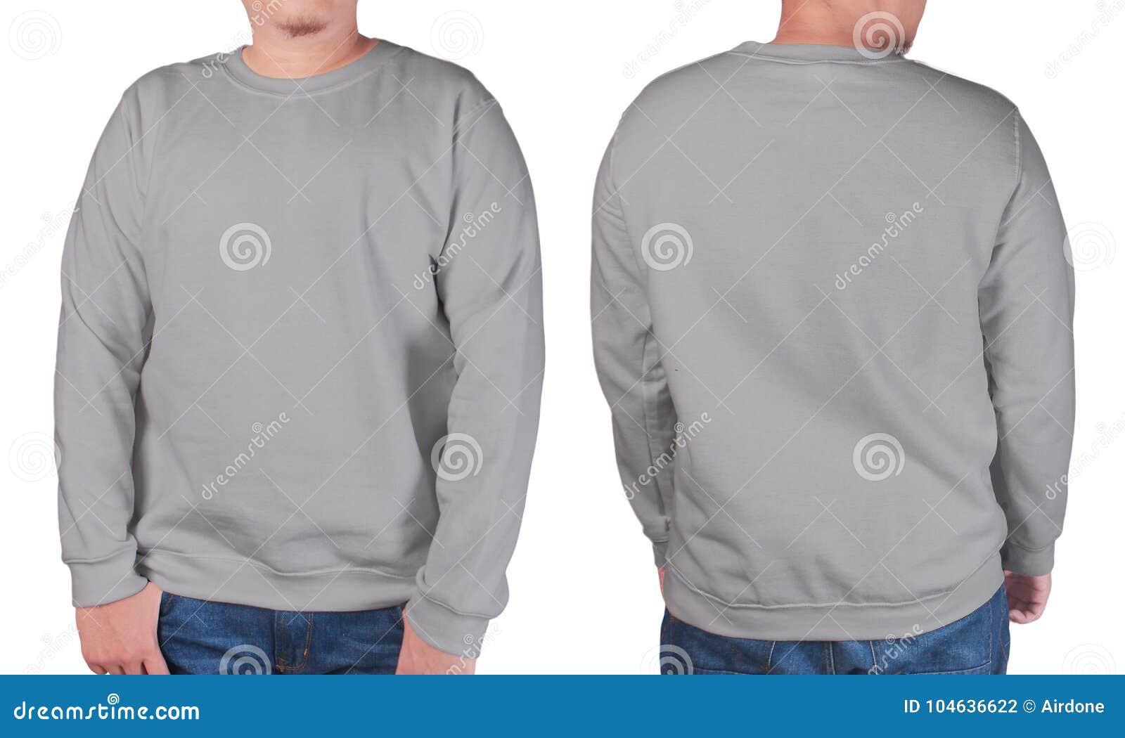 Download Grijs Het Modelmalplaatje Van Het Sweater Lang Sleeved Overhemd Stock Foto - Afbeelding bestaande uit menselijk, manier: 104636622